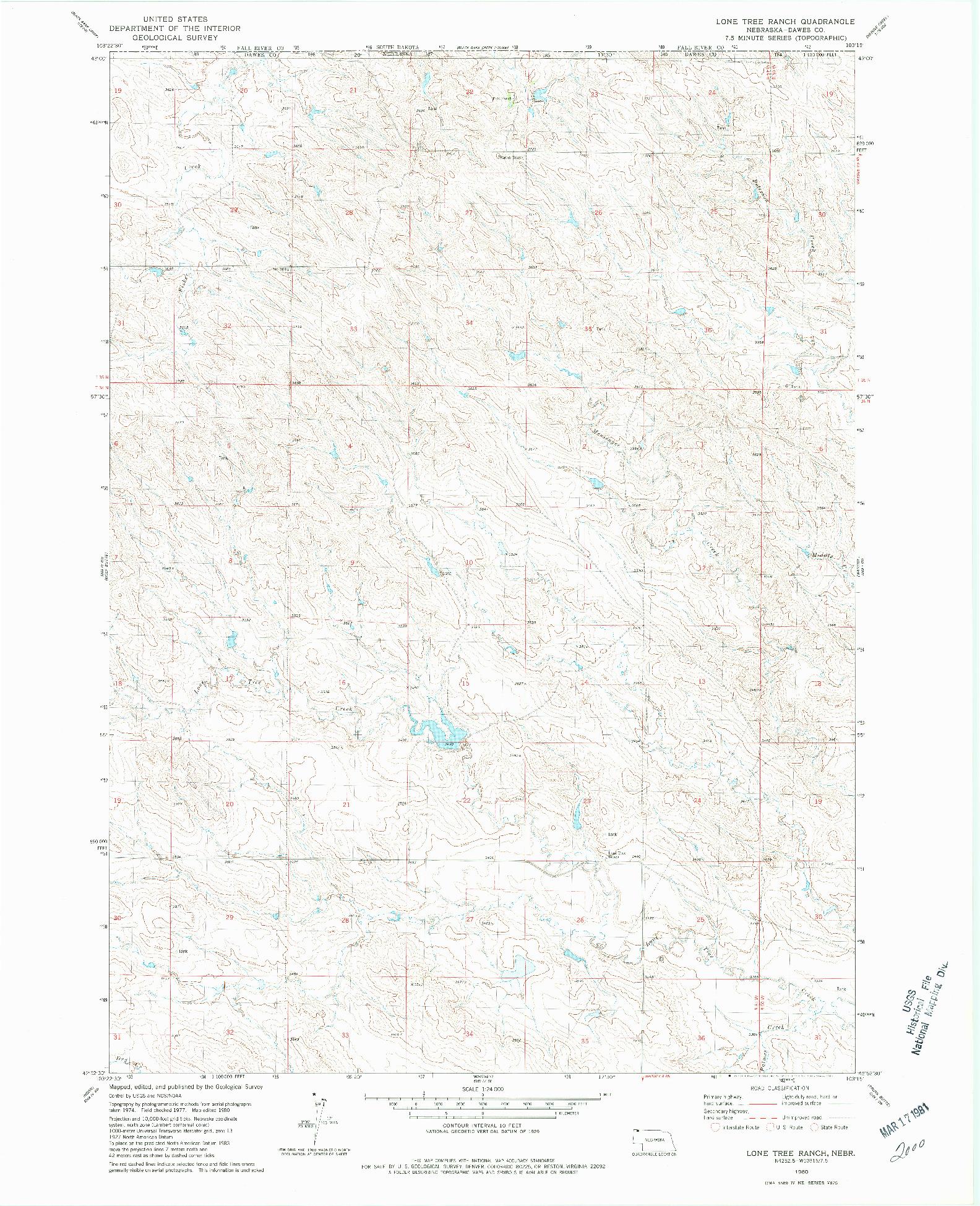 USGS 1:24000-SCALE QUADRANGLE FOR LONE TREE RANCH, NE 1980
