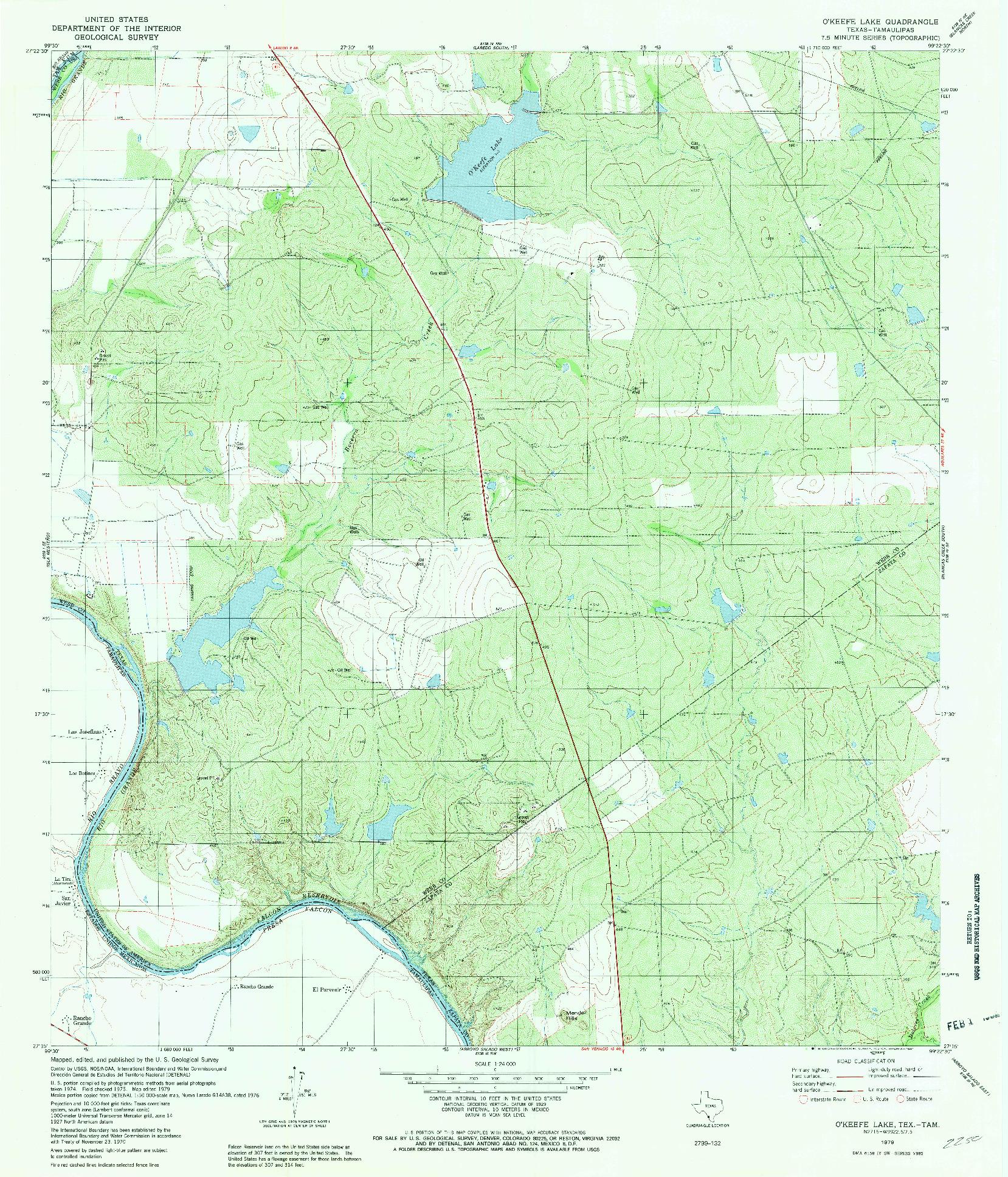 USGS 1:24000-SCALE QUADRANGLE FOR O'KEEFE LAKE, TX 1979