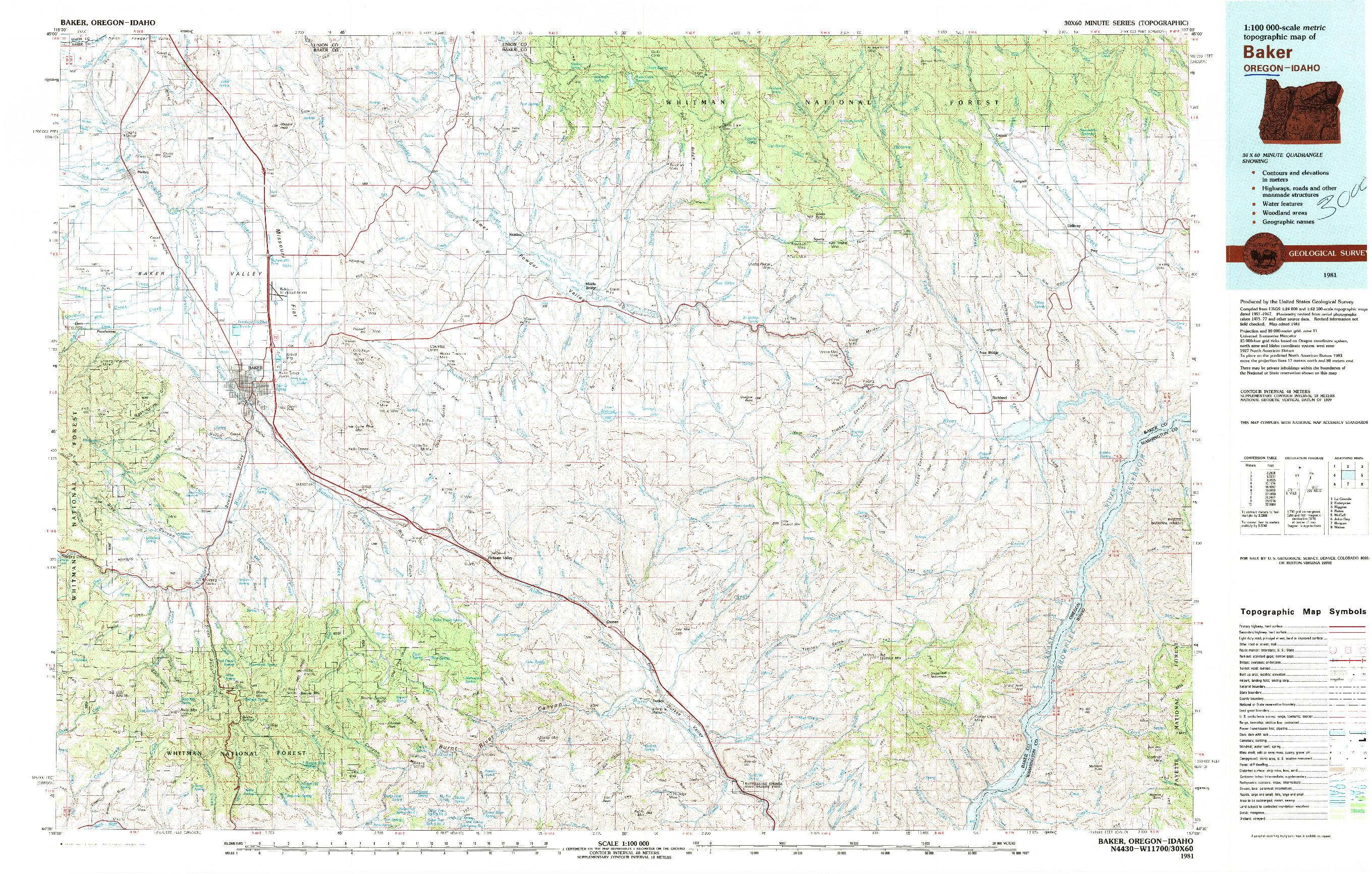 USGS 1:100000-SCALE QUADRANGLE FOR BAKER, OR 1981