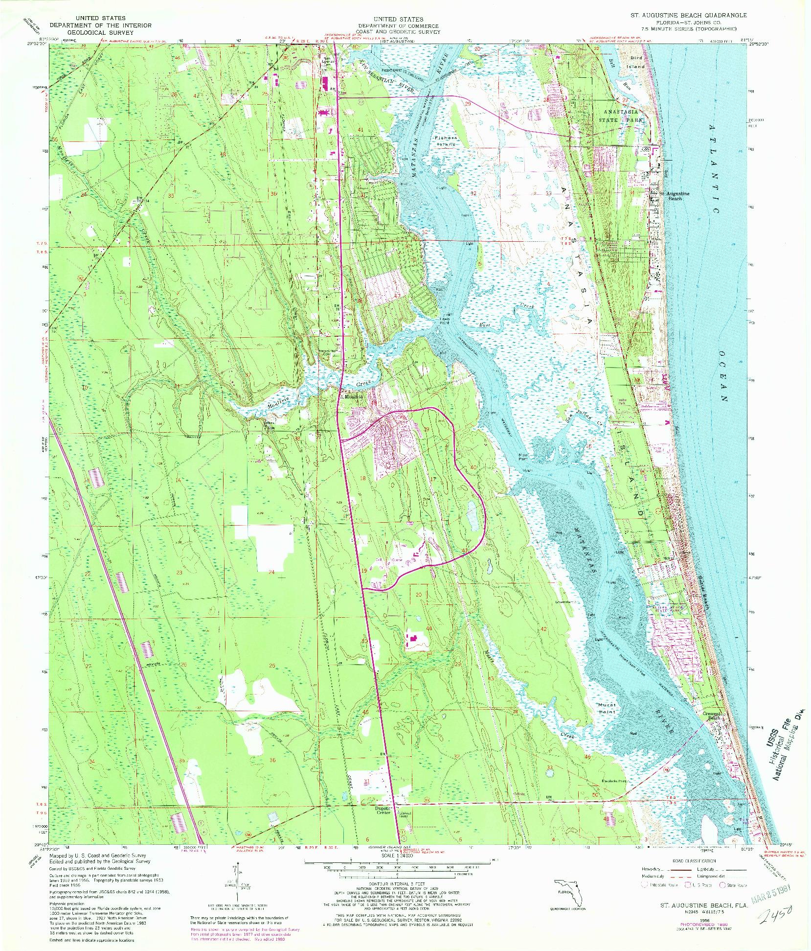 USGS 1:24000-SCALE QUADRANGLE FOR ST. AUGUSTINE BEACH, FL 1956