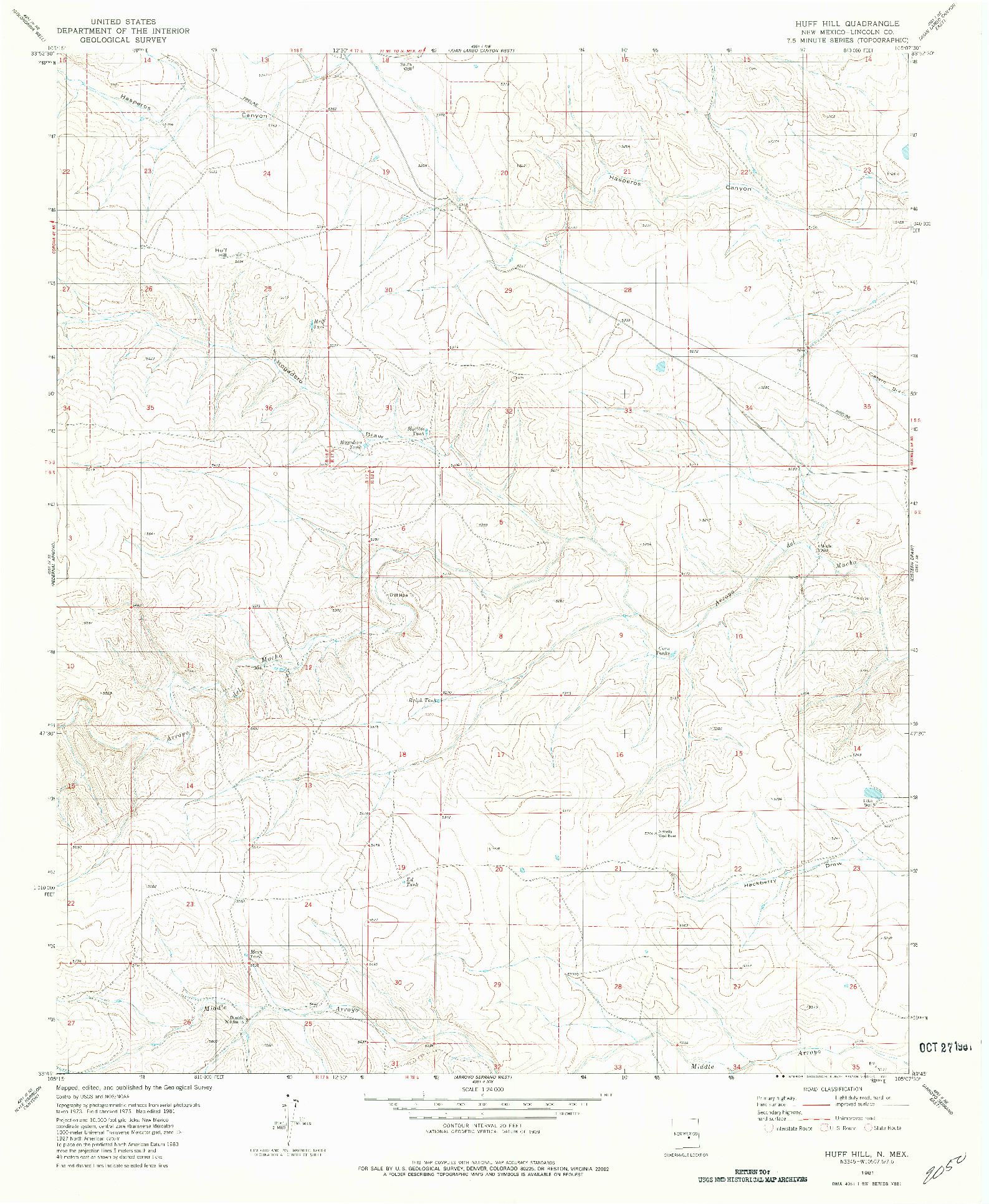 USGS 1:24000-SCALE QUADRANGLE FOR HUFF HILL, NM 1981