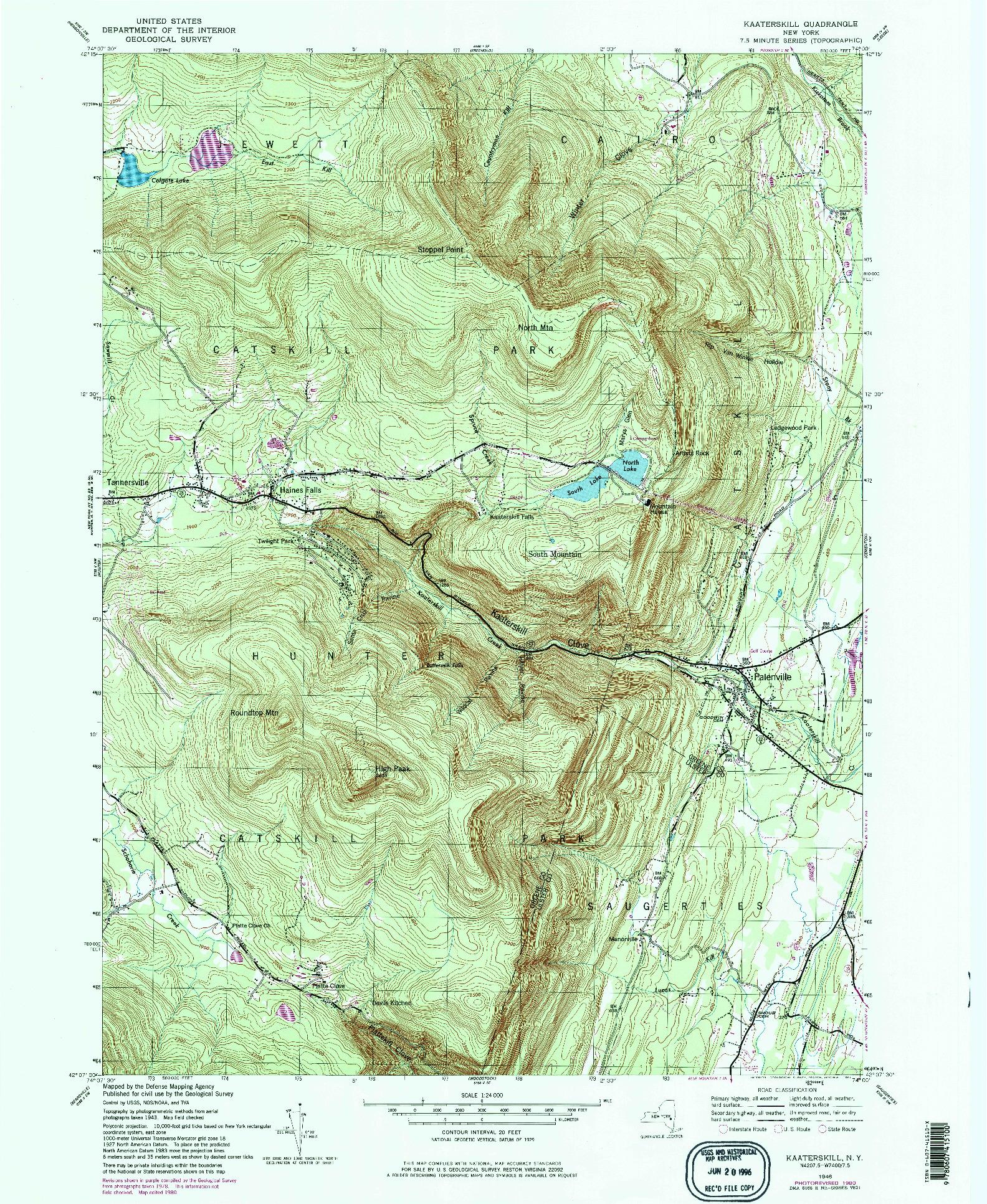 USGS 1:24000-SCALE QUADRANGLE FOR KAATERSKILL, NY 1946