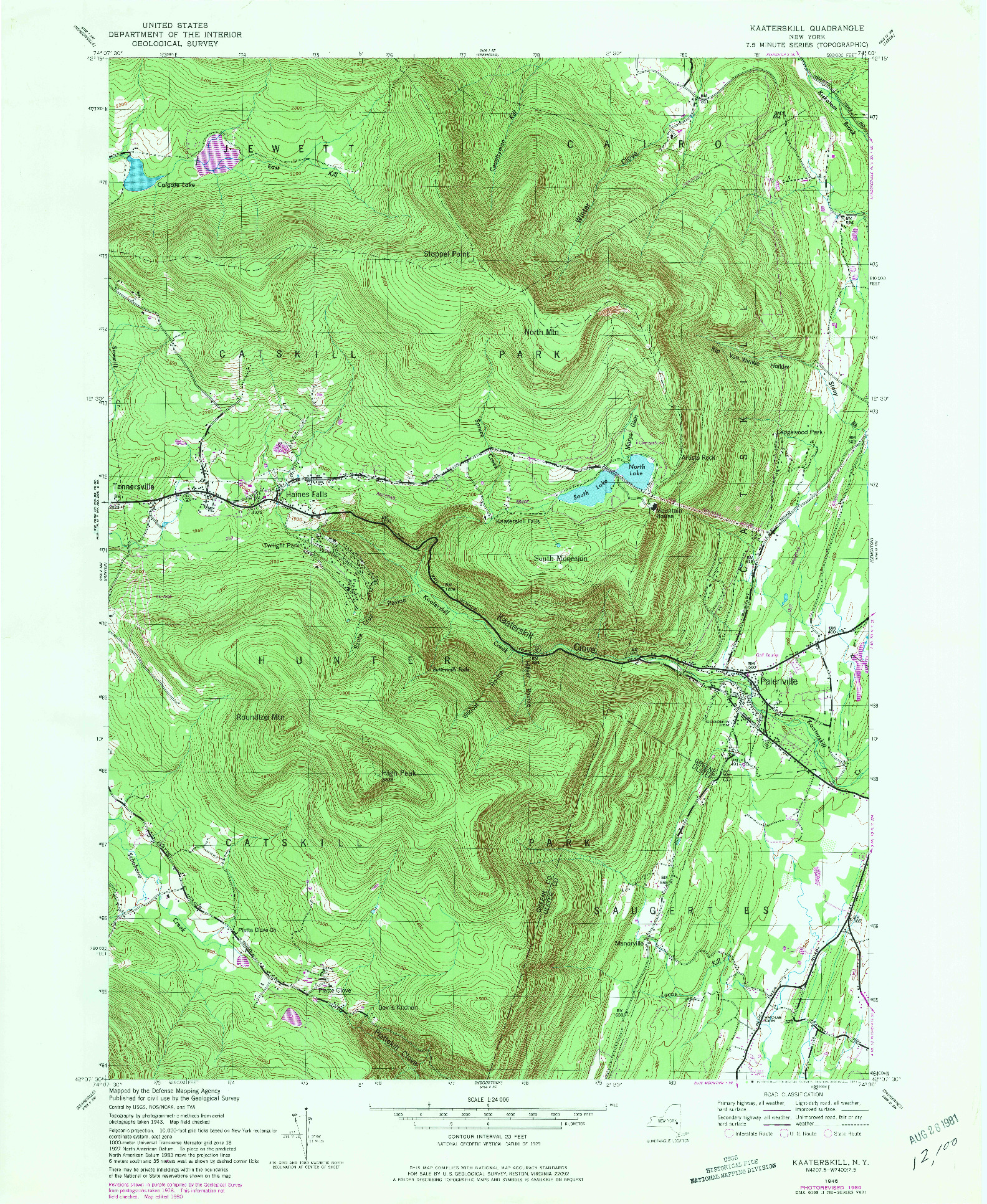 USGS 1:24000-SCALE QUADRANGLE FOR KAATERSKILL, NY 1946