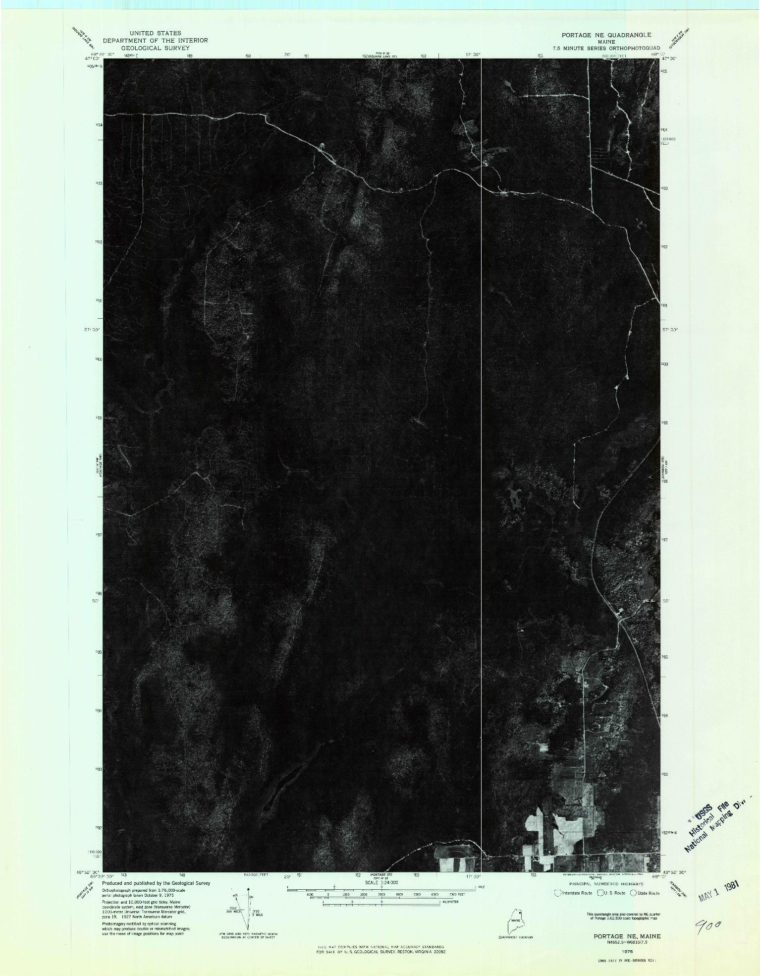 USGS 1:24000-SCALE QUADRANGLE FOR PORTAGE NE, ME 1975