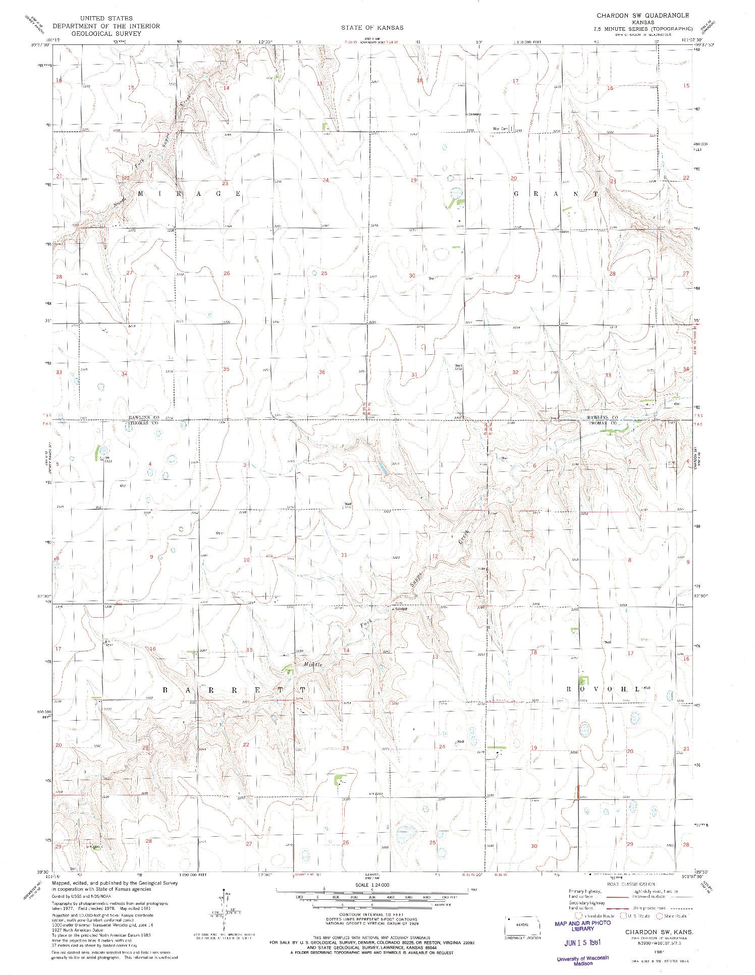 USGS 1:24000-SCALE QUADRANGLE FOR CHARDON SW, KS 1981