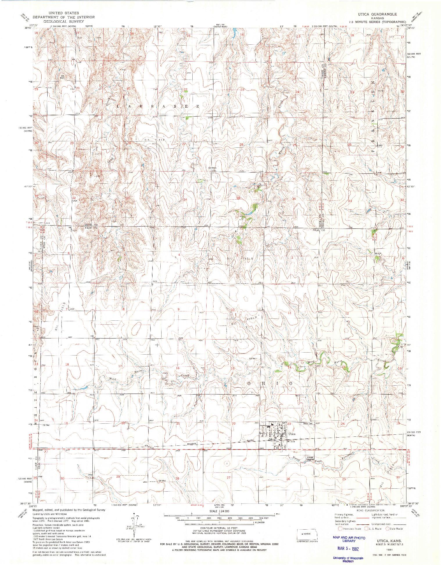 USGS 1:24000-SCALE QUADRANGLE FOR UTICA, KS 1981