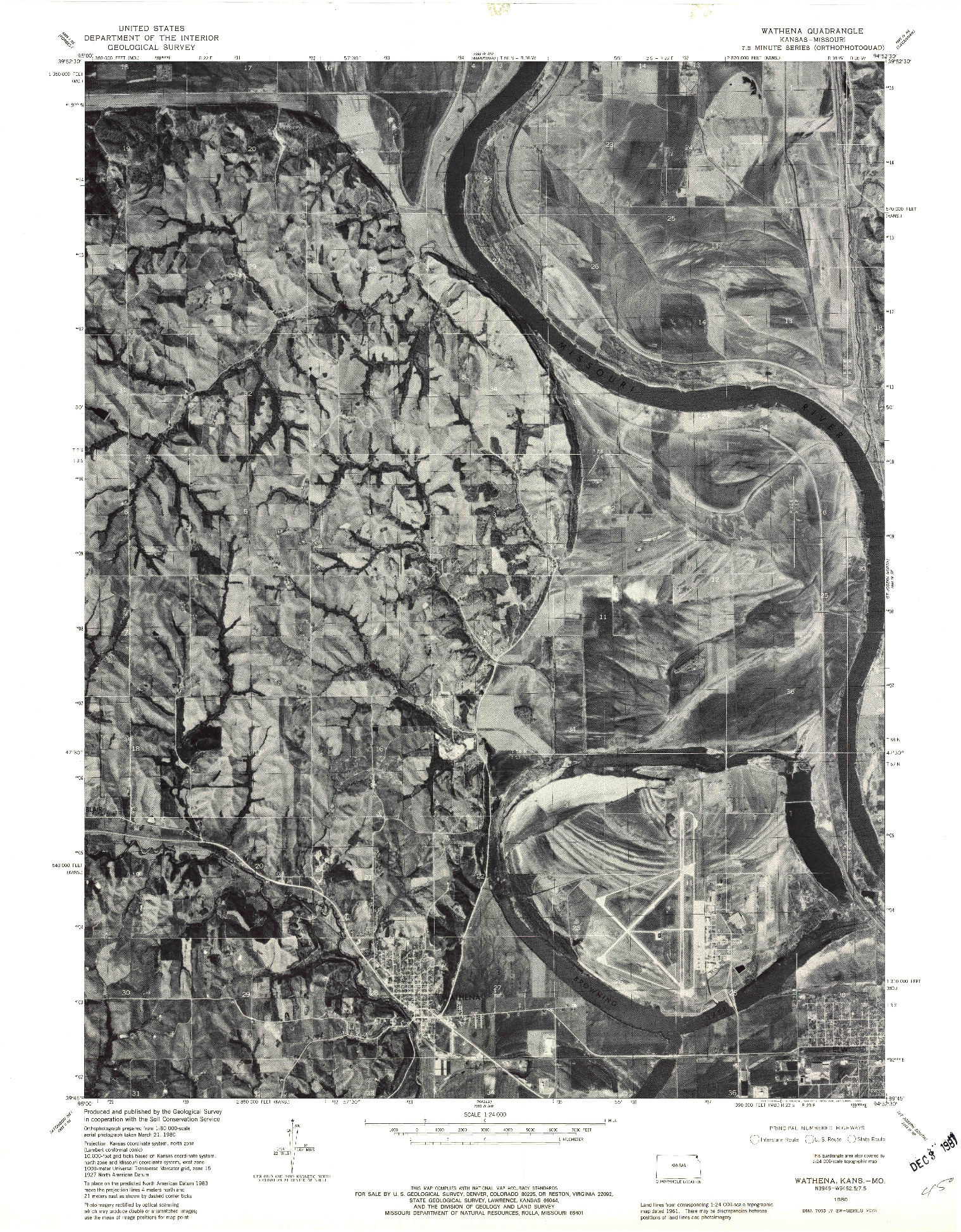 USGS 1:24000-SCALE QUADRANGLE FOR WATHENA, KS 1980