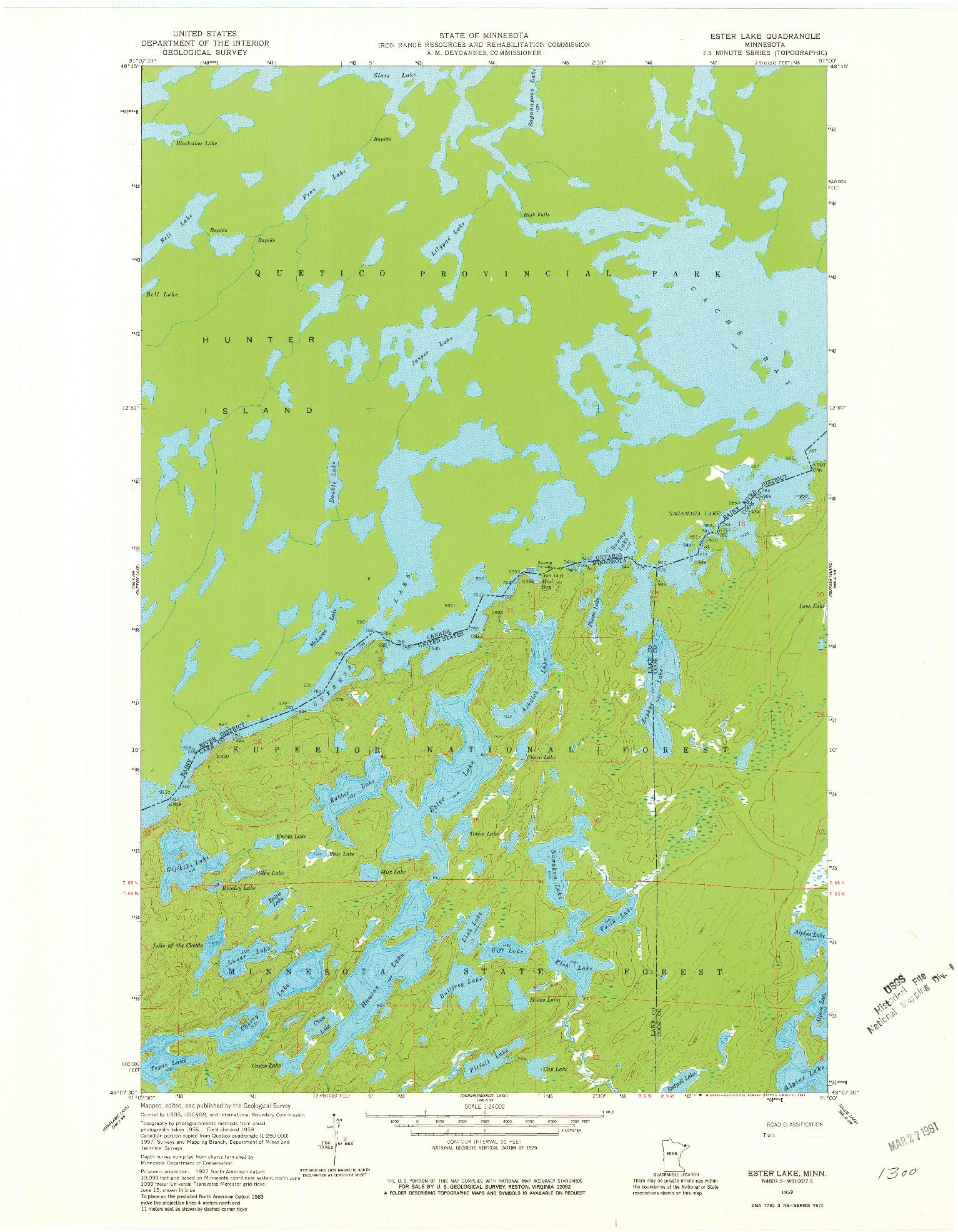 USGS 1:24000-SCALE QUADRANGLE FOR ESTER LAKE, MN 1959