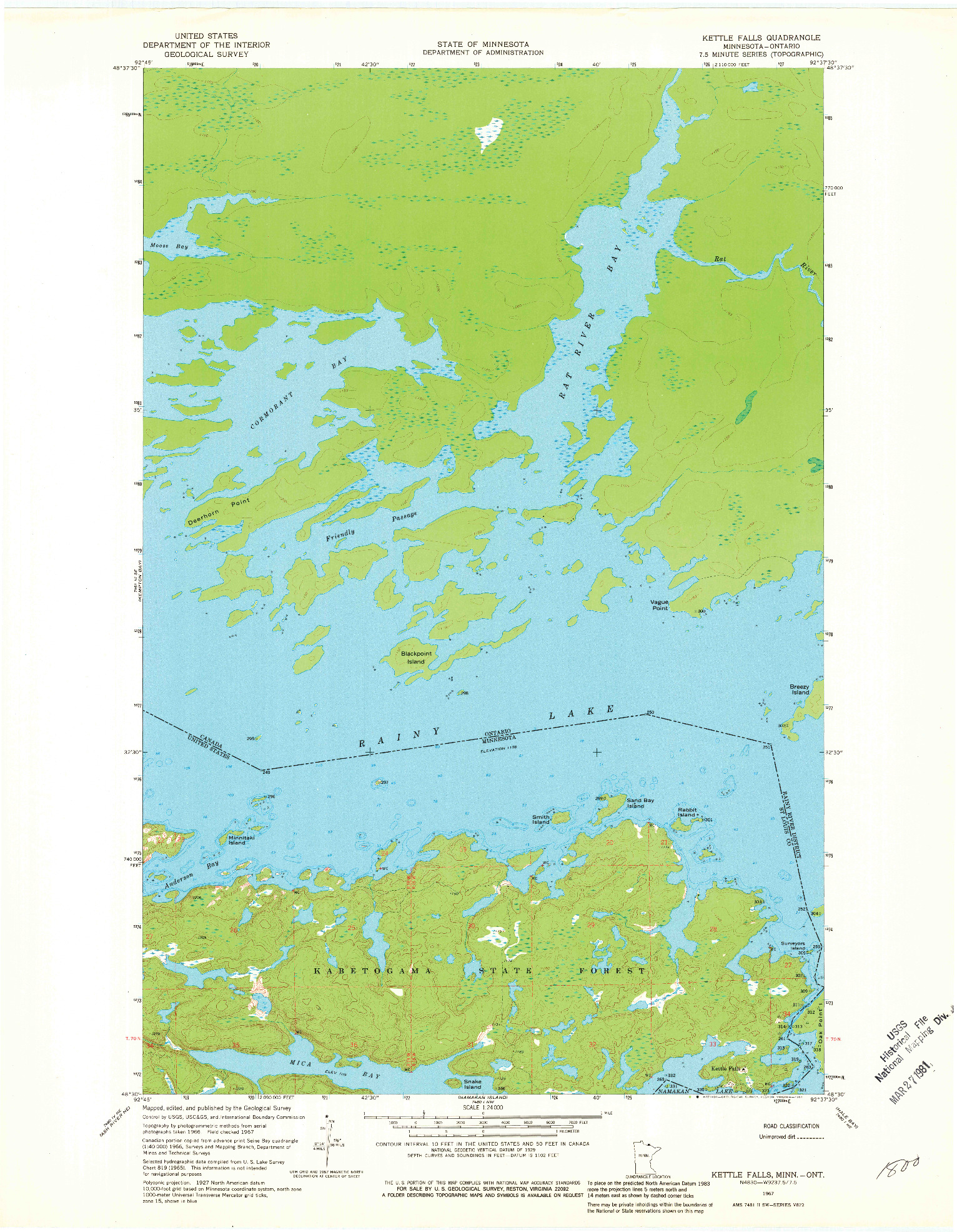 USGS 1:24000-SCALE QUADRANGLE FOR KETTLE FALLS, MN 1967