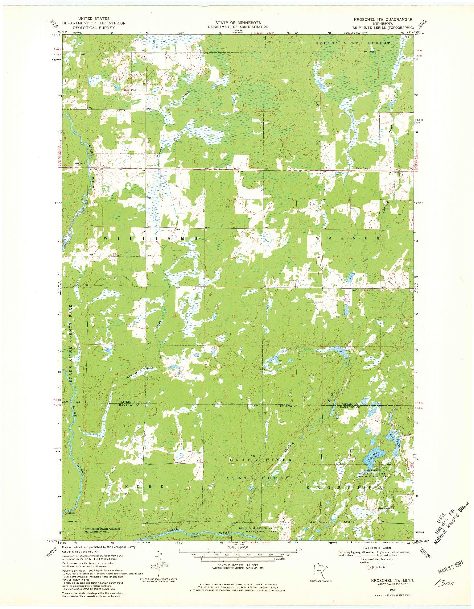 USGS 1:24000-SCALE QUADRANGLE FOR KROSCHEL NW, MN 1968