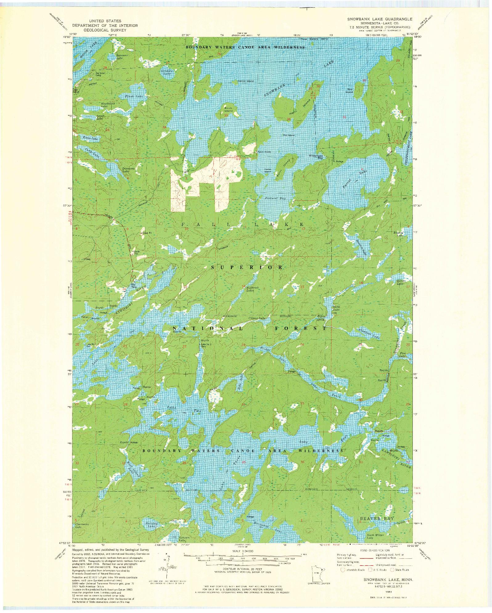 USGS 1:24000-SCALE QUADRANGLE FOR SNOWBANK LAKE, MN 1981