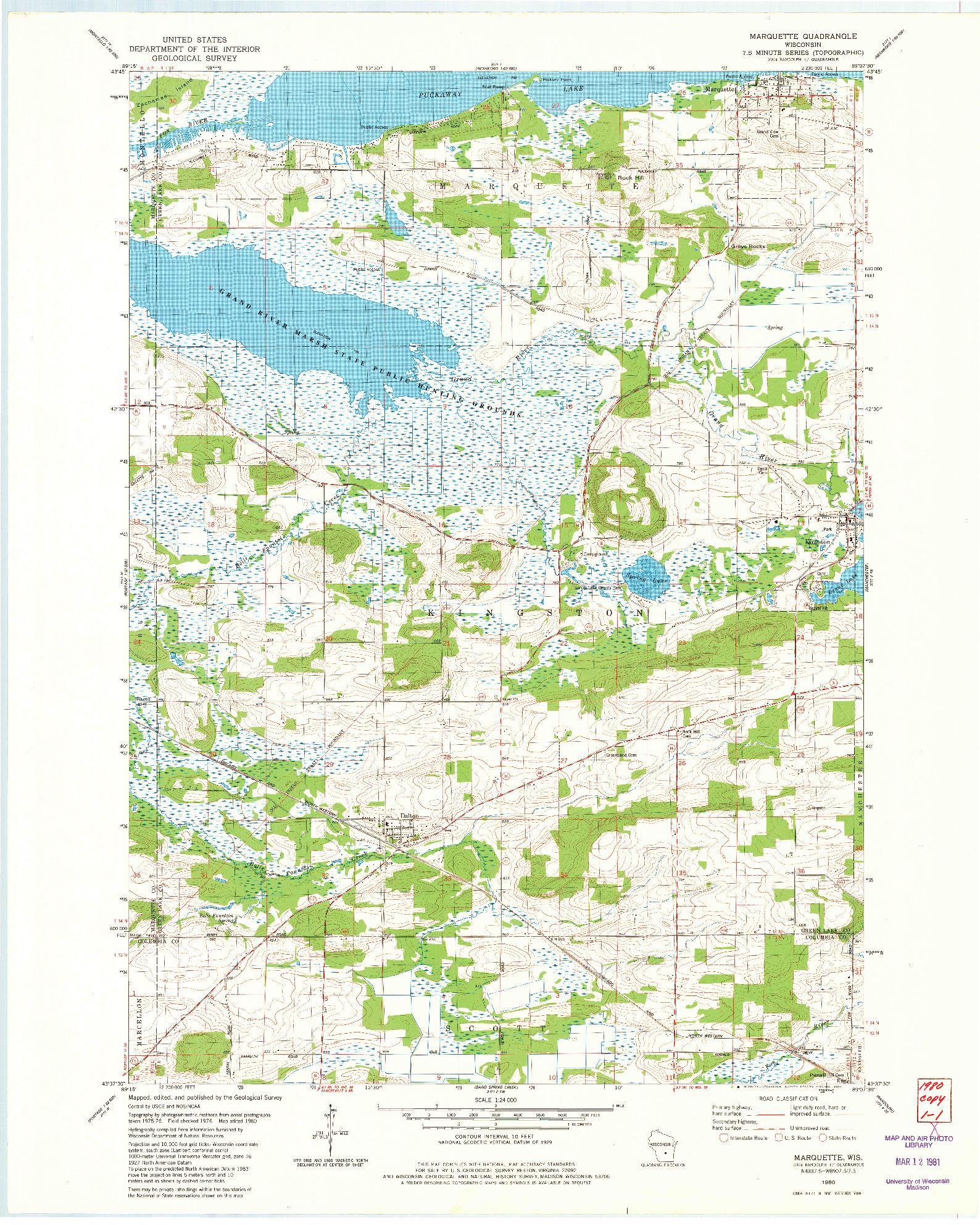 USGS 1:24000-SCALE QUADRANGLE FOR MARQUETTE, WI 1980