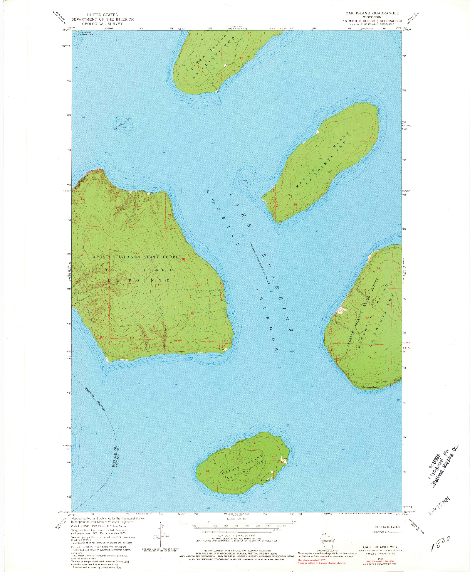 USGS 1:24000-SCALE QUADRANGLE FOR OAK ISLAND, WI 1963