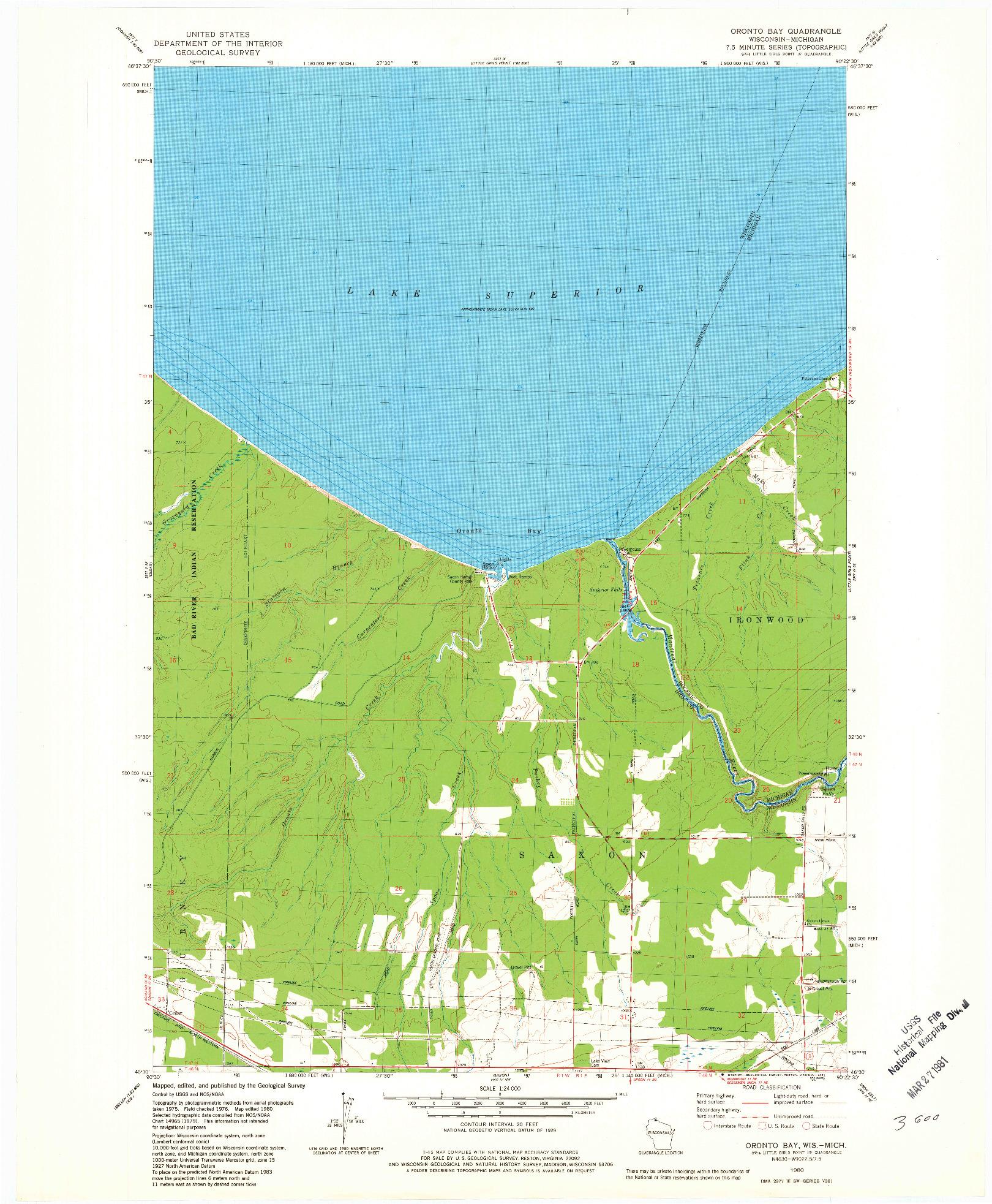 USGS 1:24000-SCALE QUADRANGLE FOR ORONTO BAY, WI 1980