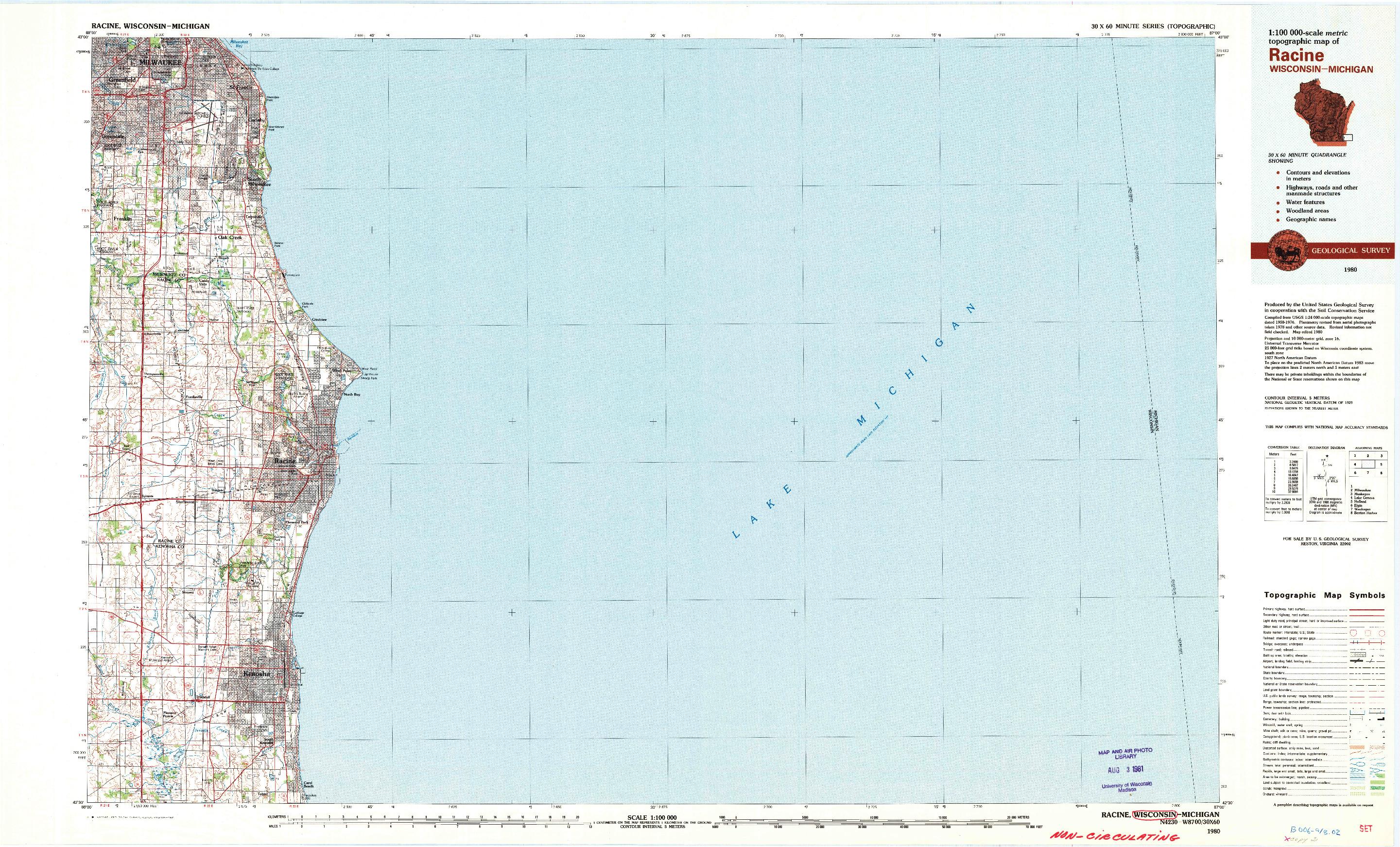 USGS 1:100000-SCALE QUADRANGLE FOR RACINE, WI 1980