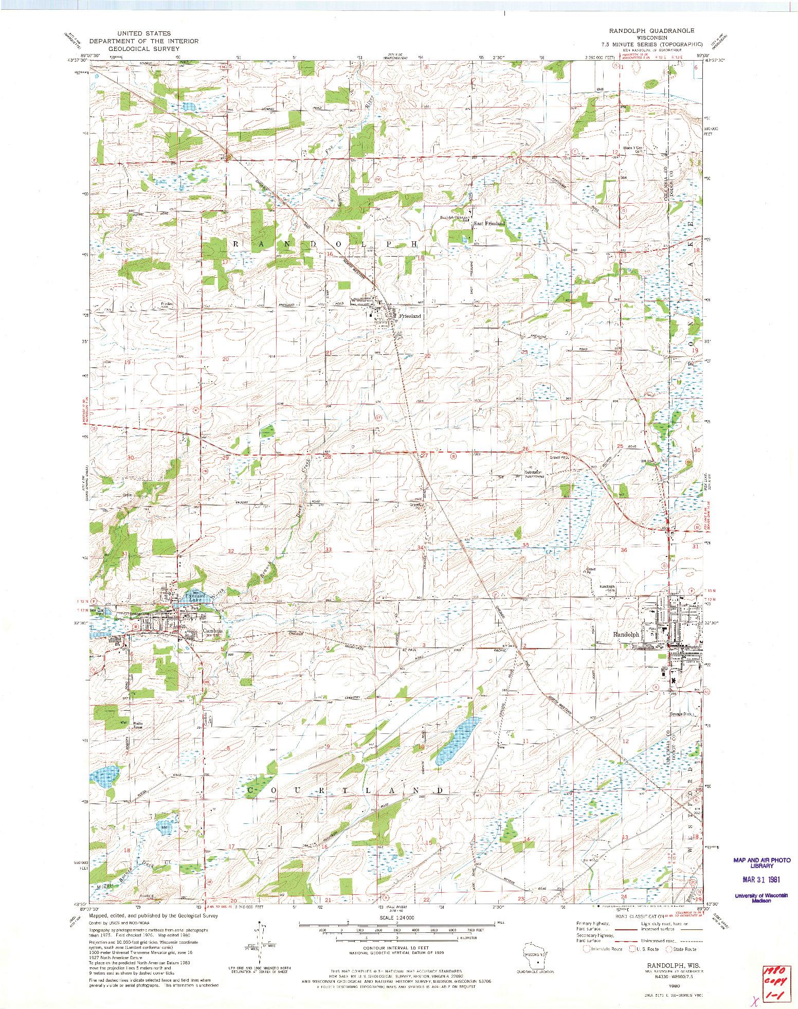 USGS 1:24000-SCALE QUADRANGLE FOR RANDOLPH, WI 1980