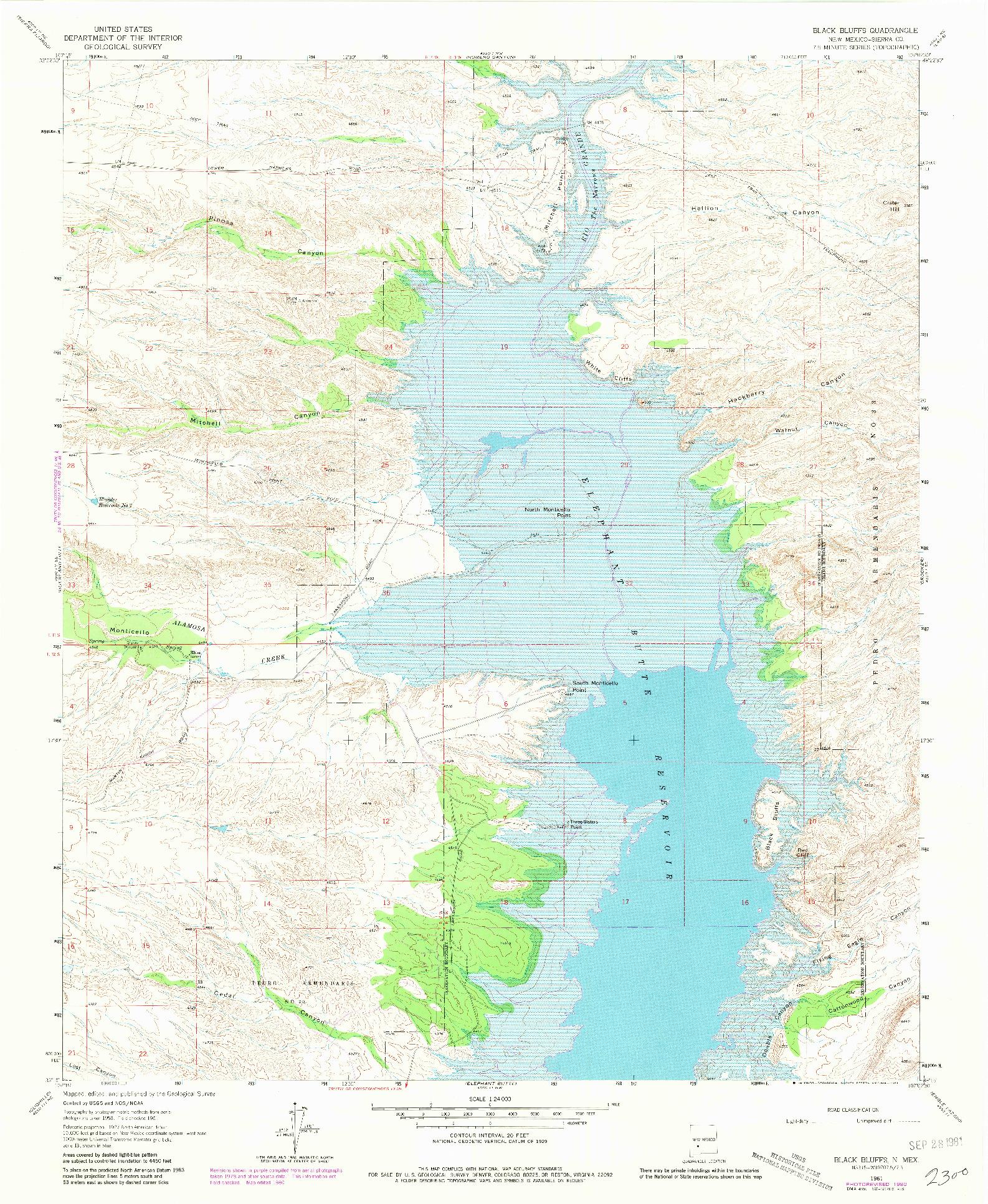 USGS 1:24000-SCALE QUADRANGLE FOR BLACK BLUFFS, NM 1961