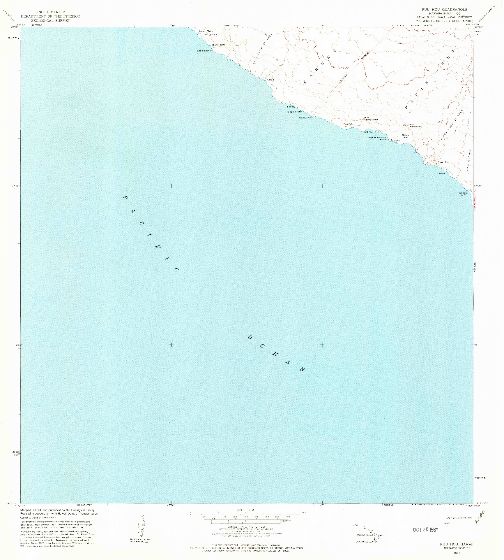 USGS 1:24000-SCALE QUADRANGLE FOR PUU HOU, HI 1981