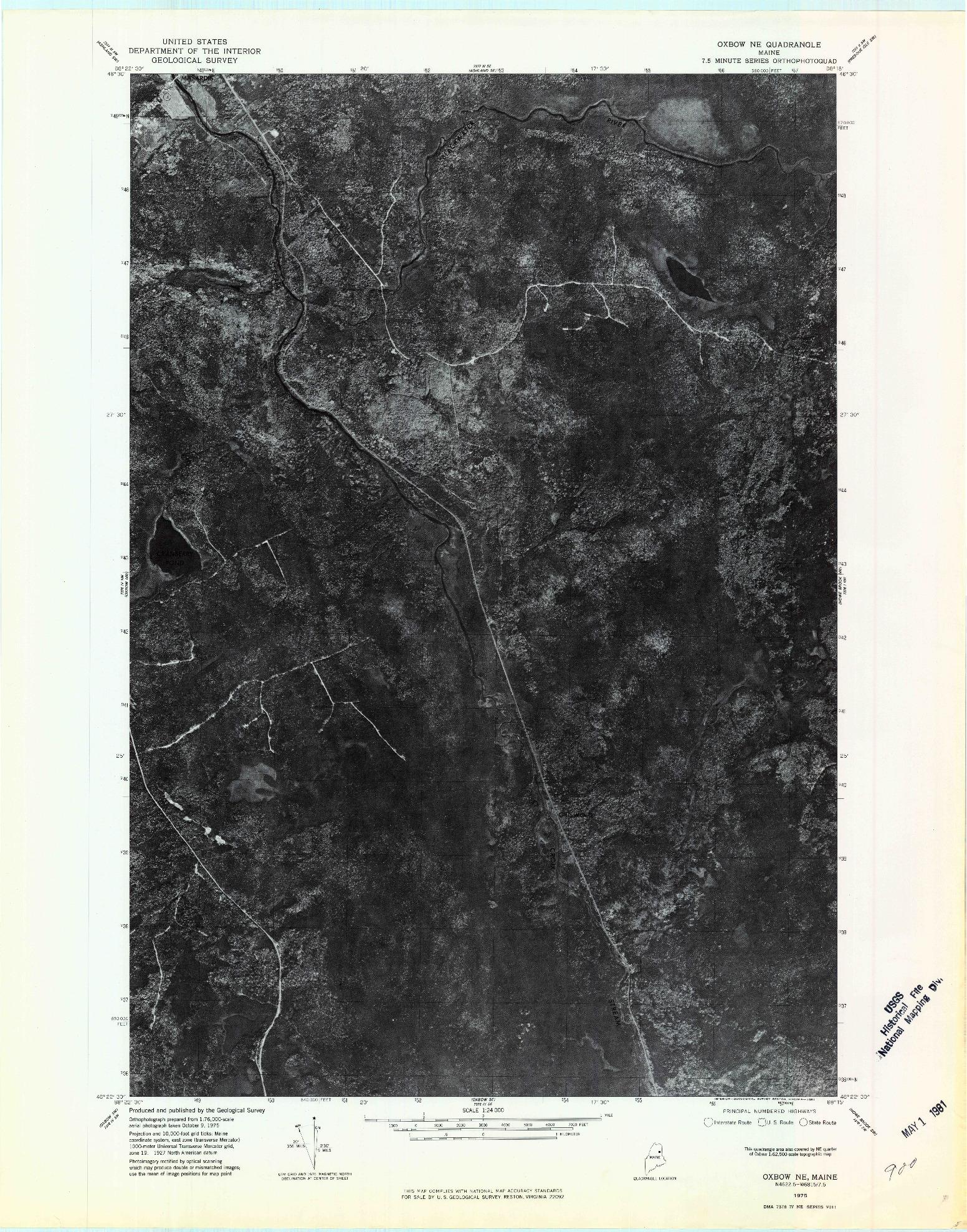 USGS 1:24000-SCALE QUADRANGLE FOR OXBOW NE, ME 1975
