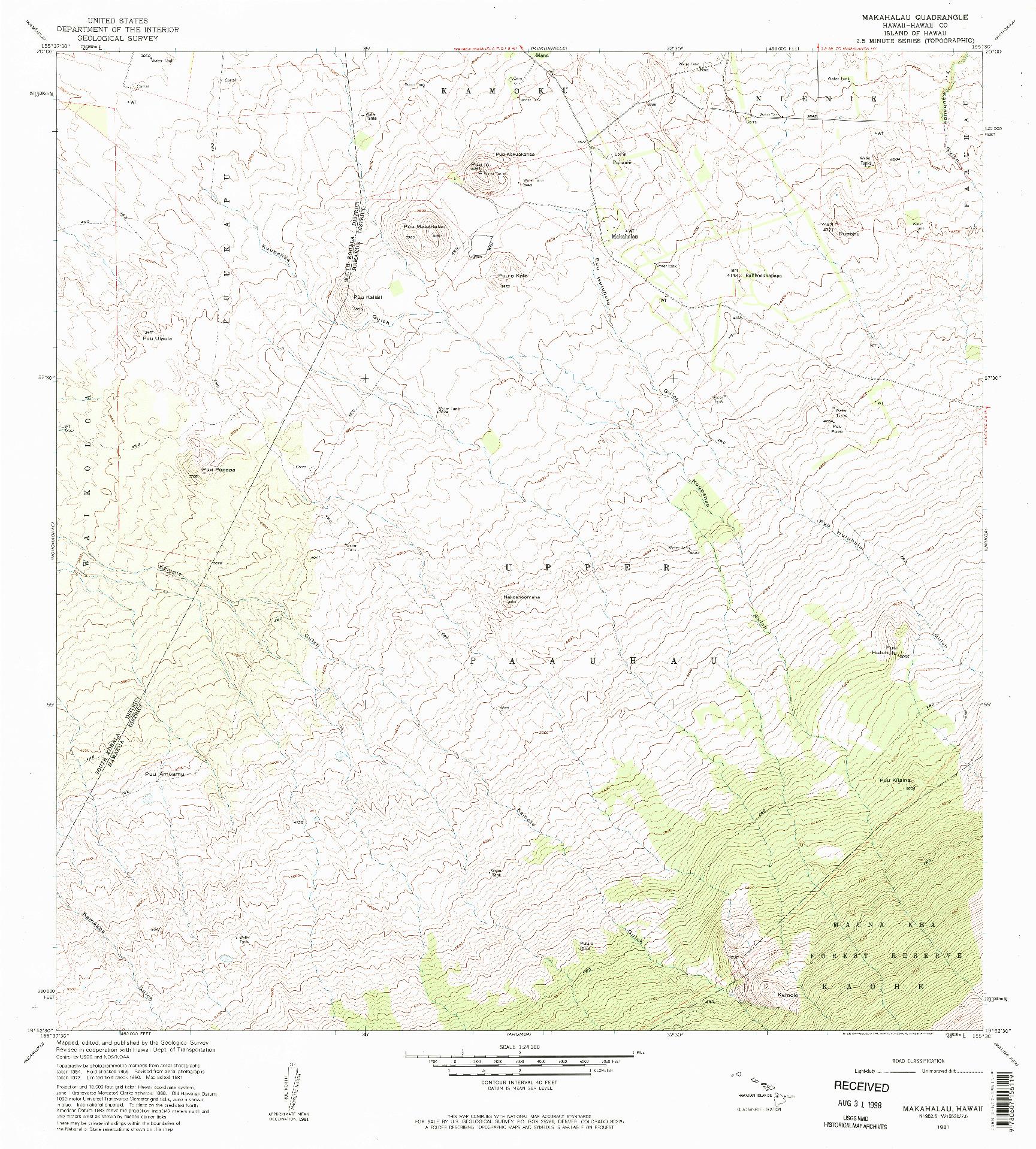 USGS 1:24000-SCALE QUADRANGLE FOR MAKAHALAU, HI 1981