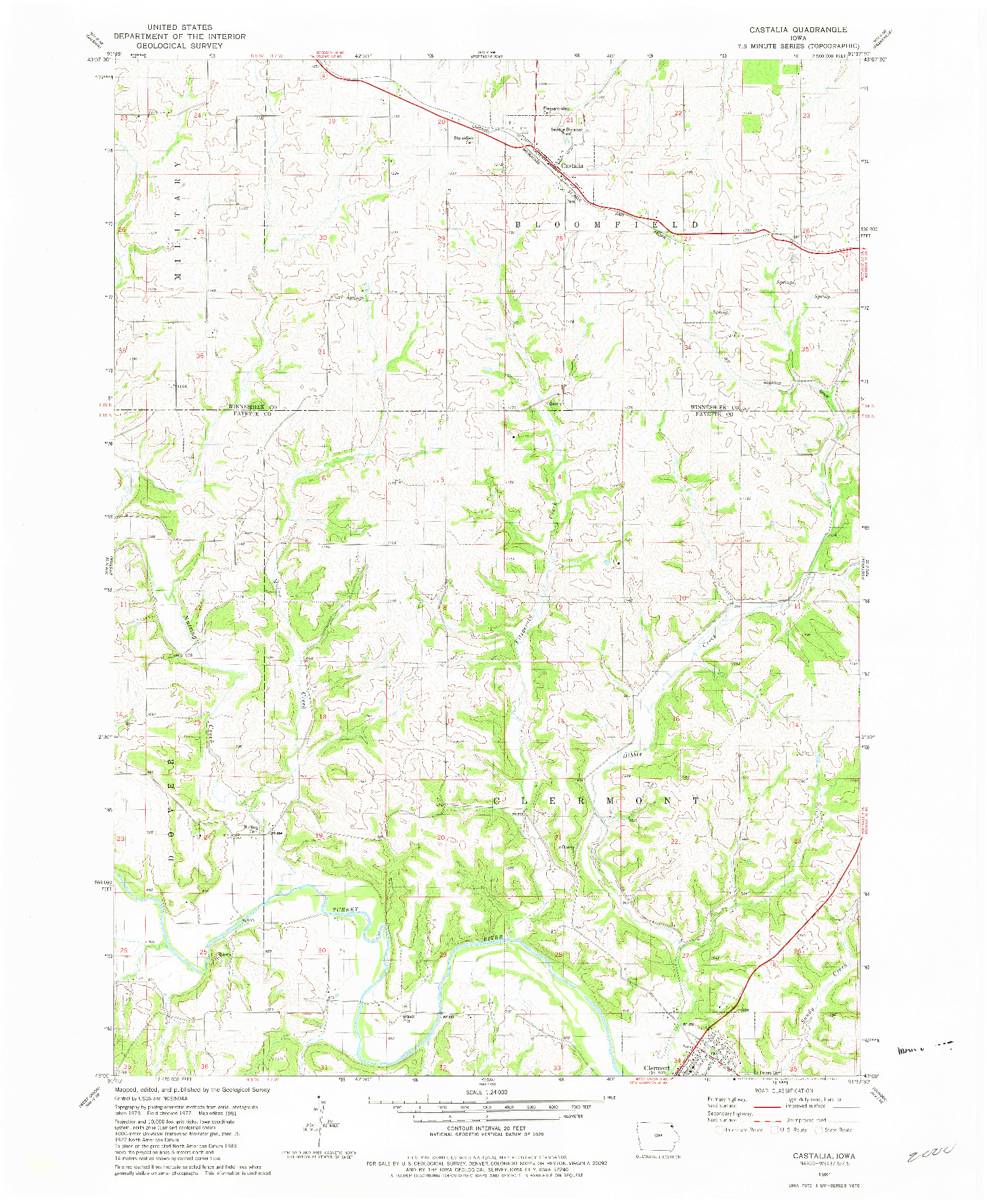 USGS 1:24000-SCALE QUADRANGLE FOR CASTALIA, IA 1981