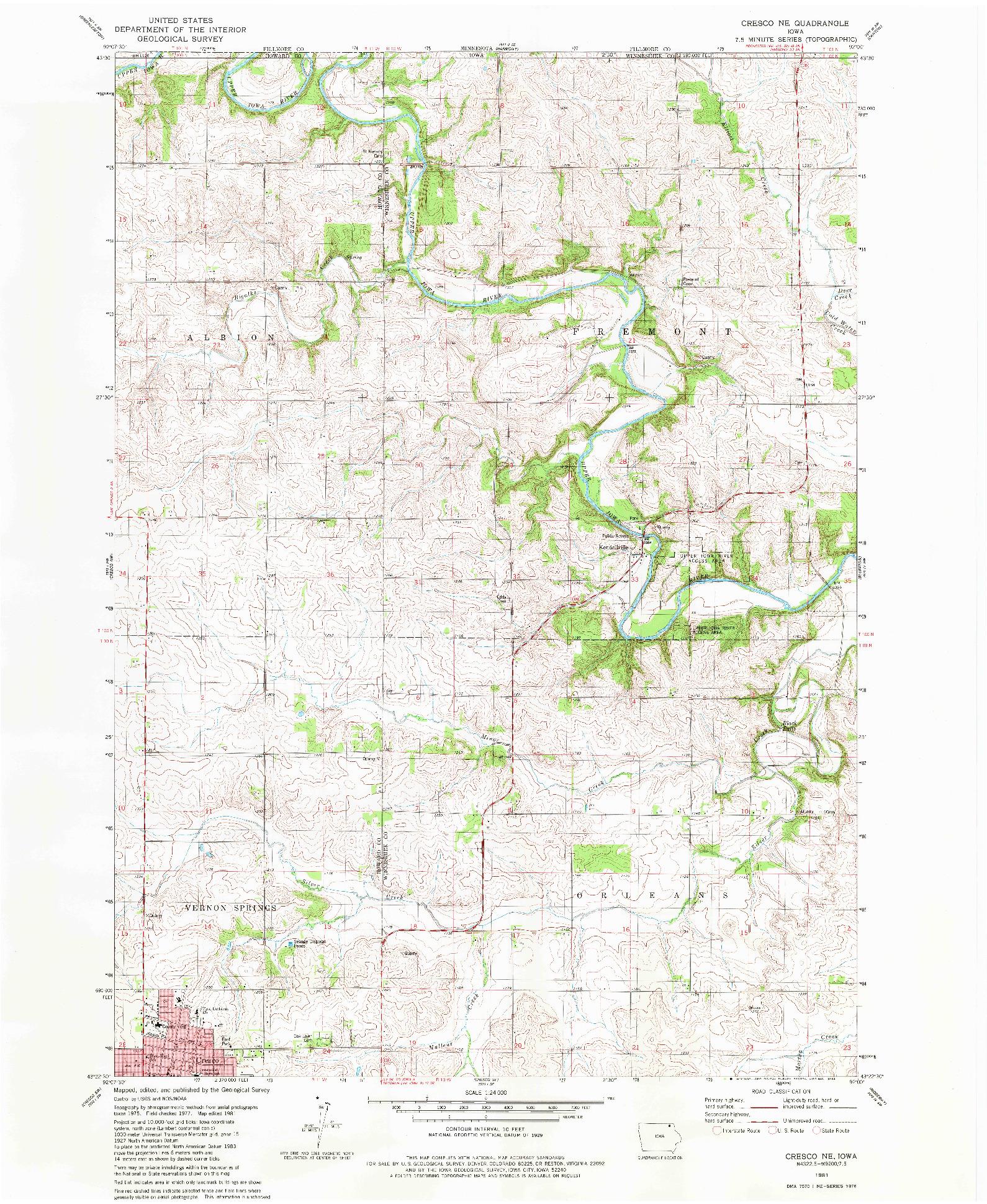 USGS 1:24000-SCALE QUADRANGLE FOR CRESCO NE, IA 1981