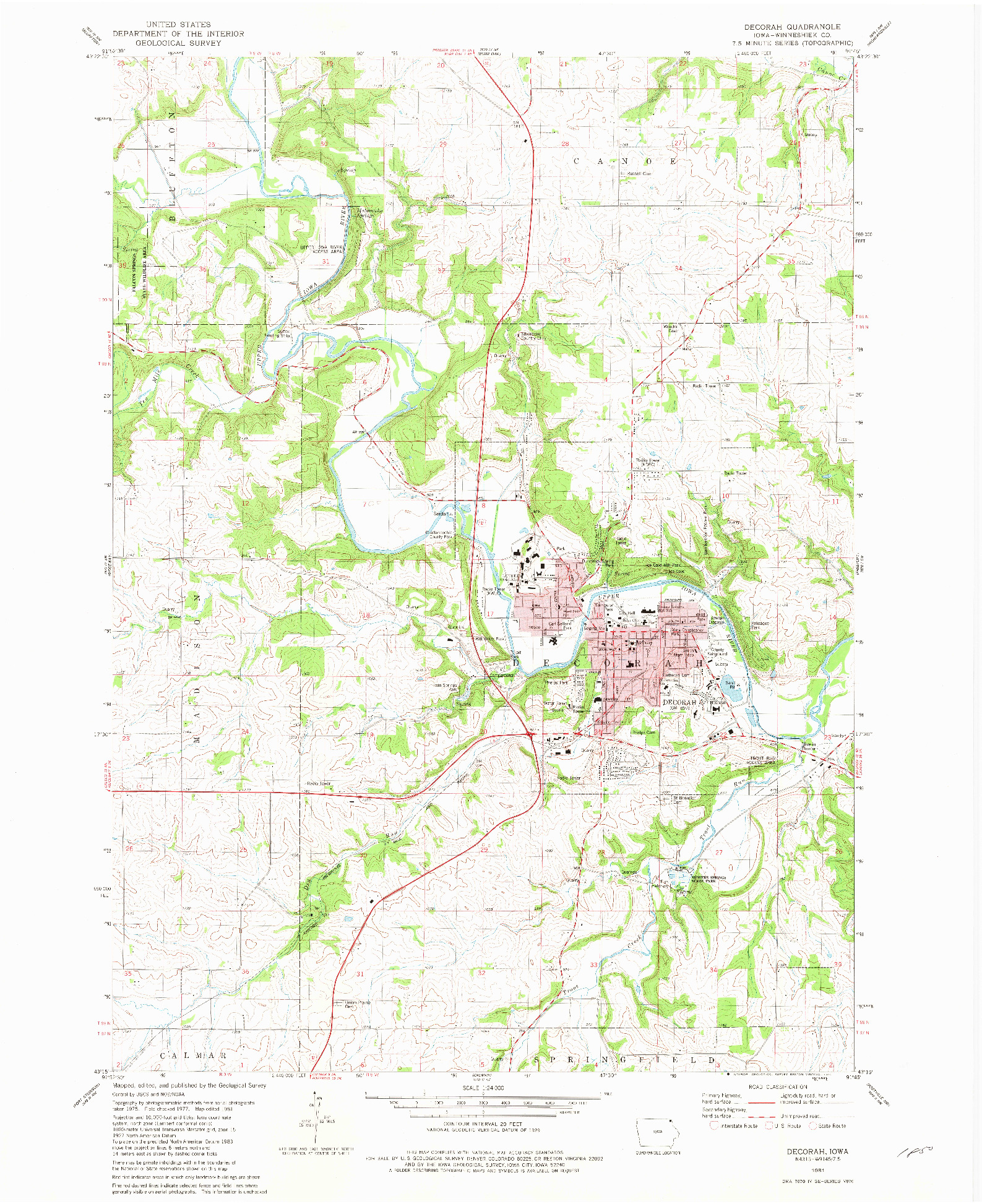 USGS 1:24000-SCALE QUADRANGLE FOR DECORAH, IA 1981
