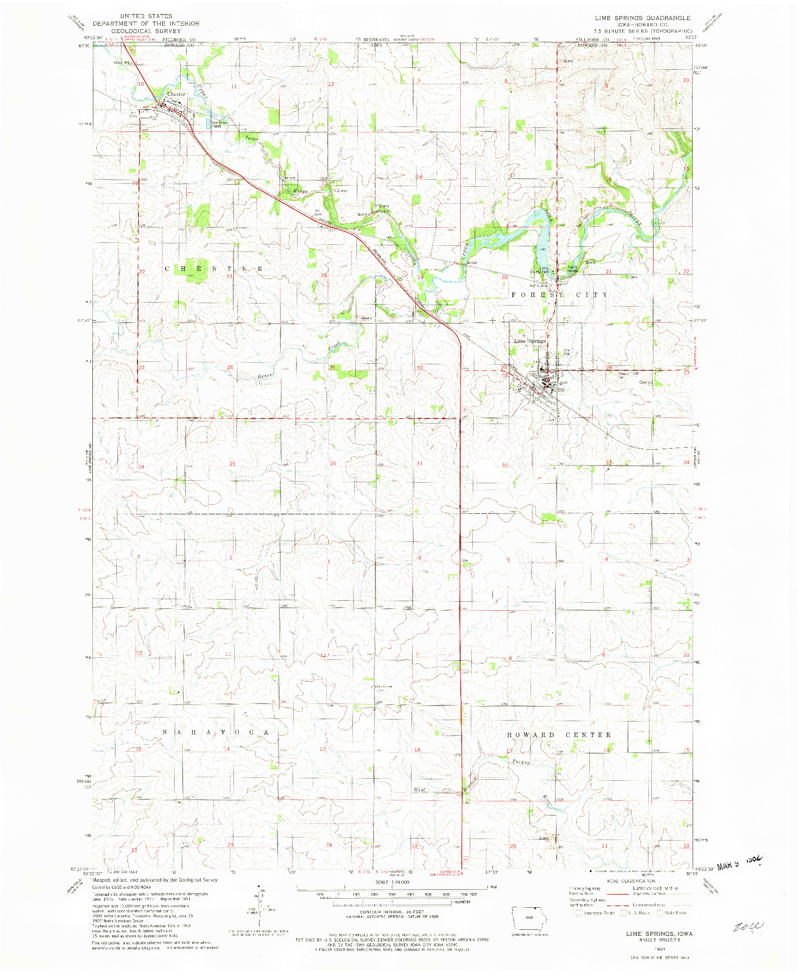 USGS 1:24000-SCALE QUADRANGLE FOR LIME SPRINGS, IA 1981