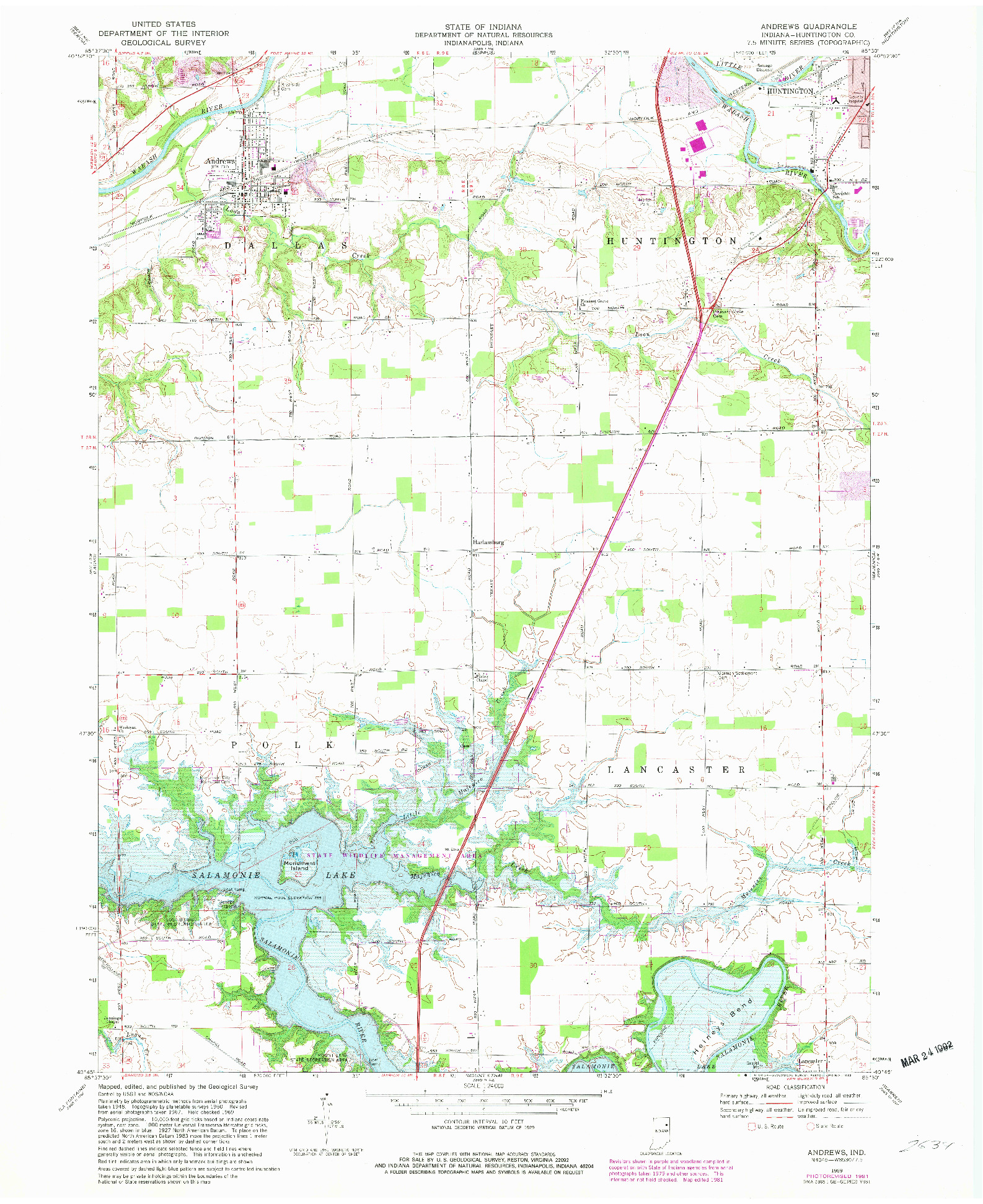 USGS 1:24000-SCALE QUADRANGLE FOR ANDREWS, IN 1969