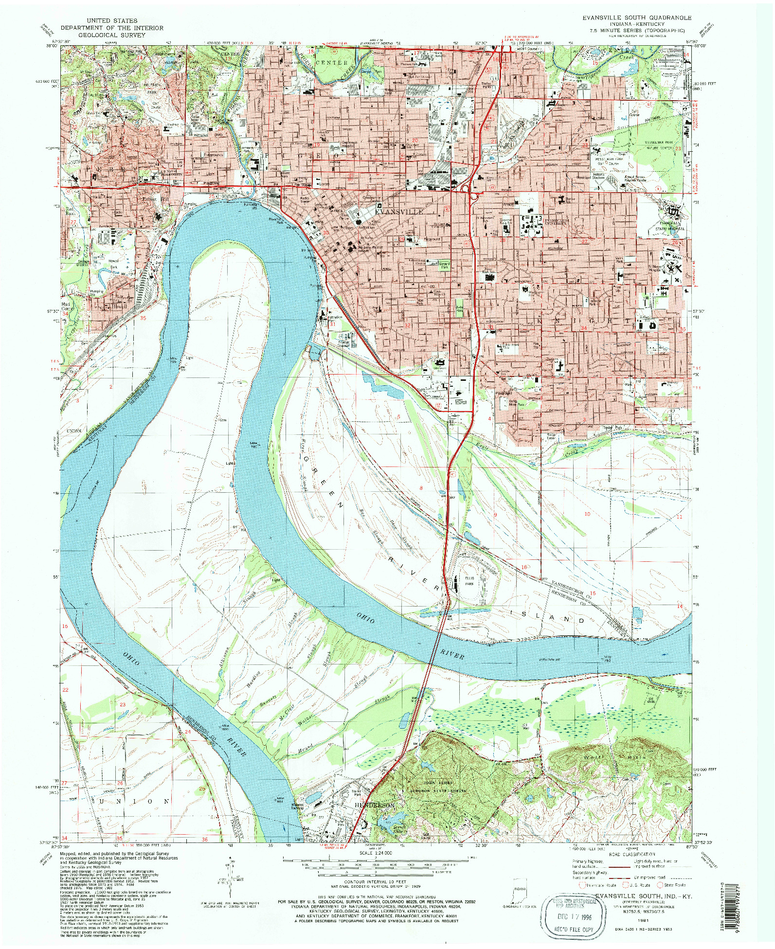 USGS 1:24000-SCALE QUADRANGLE FOR EVANSVILLE SOUTH, IN 1981