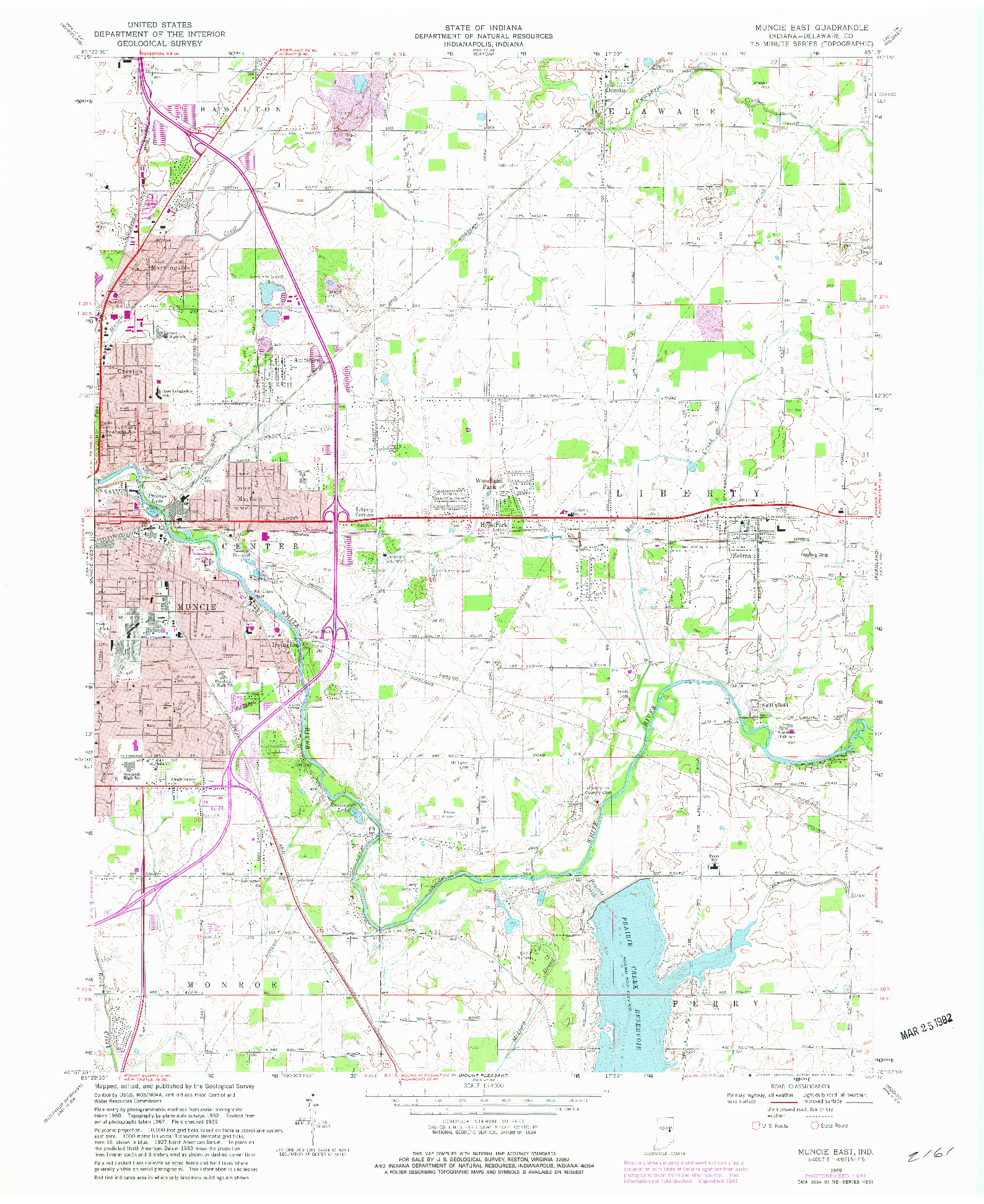 USGS 1:24000-SCALE QUADRANGLE FOR MUNCIE EAST, IN 1969