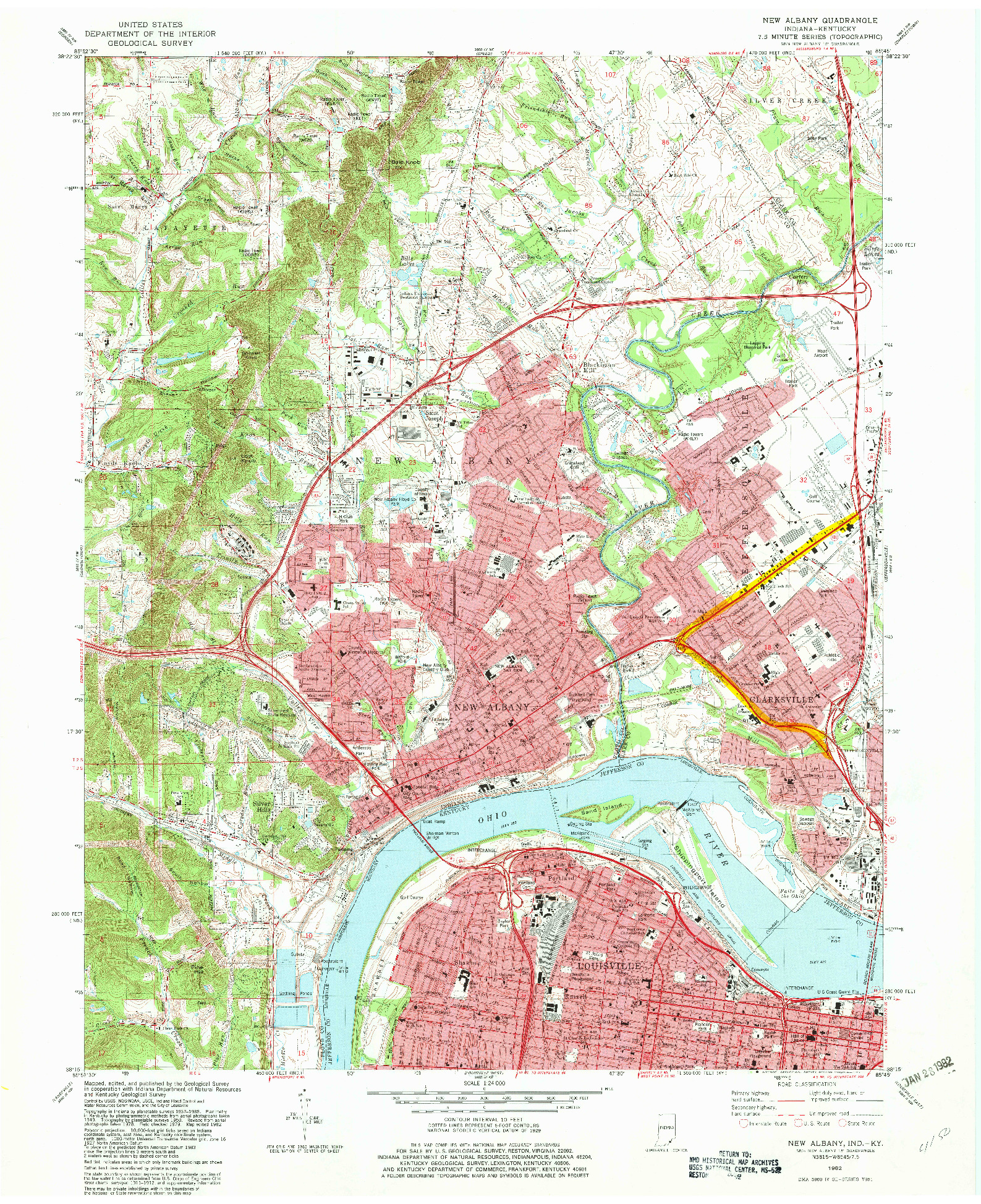 USGS 1:24000-SCALE QUADRANGLE FOR NEW ALBANY, IN 1982