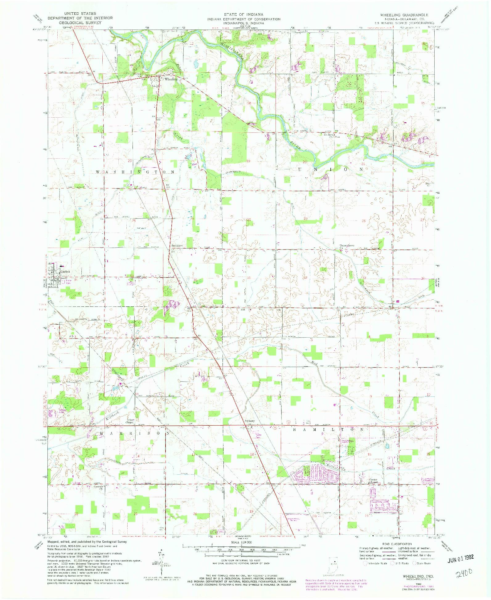 USGS 1:24000-SCALE QUADRANGLE FOR WHEELING, IN 1960
