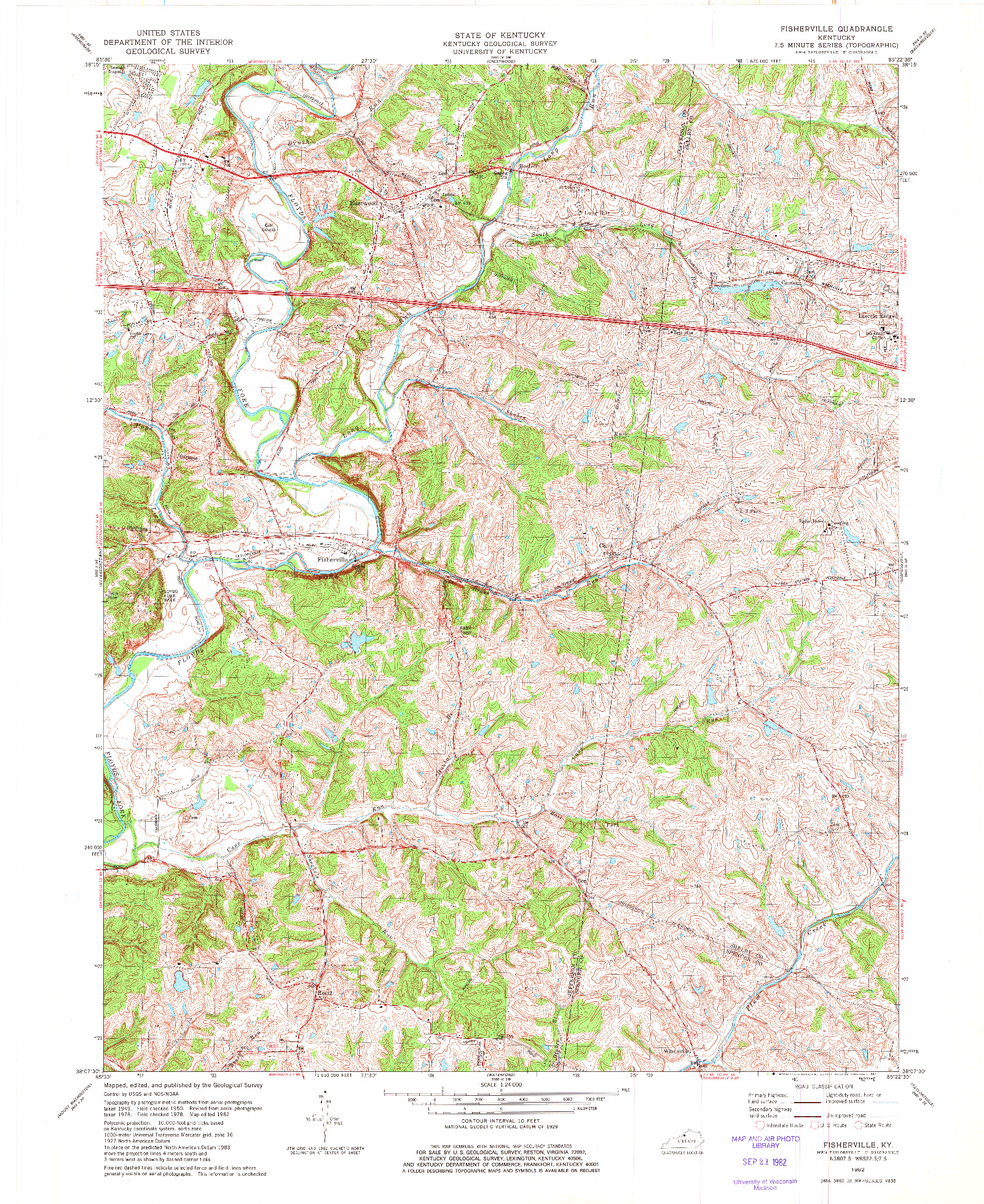USGS 1:24000-SCALE QUADRANGLE FOR FISHERVILLE, KY 1982