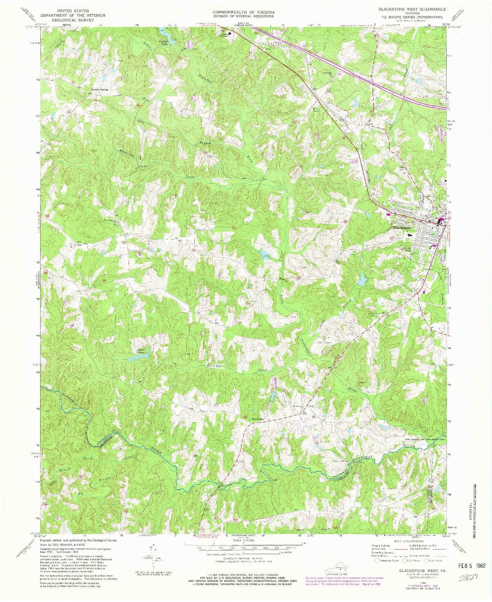USGS 1:24000-SCALE QUADRANGLE FOR BLACKSTONE WEST, VA 1968