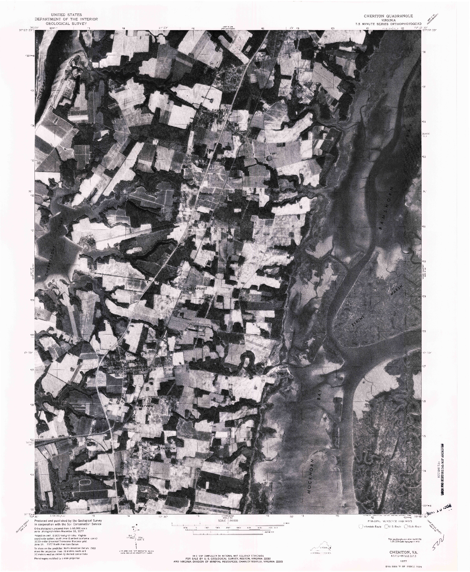 USGS 1:24000-SCALE QUADRANGLE FOR CHERITON, VA 1977