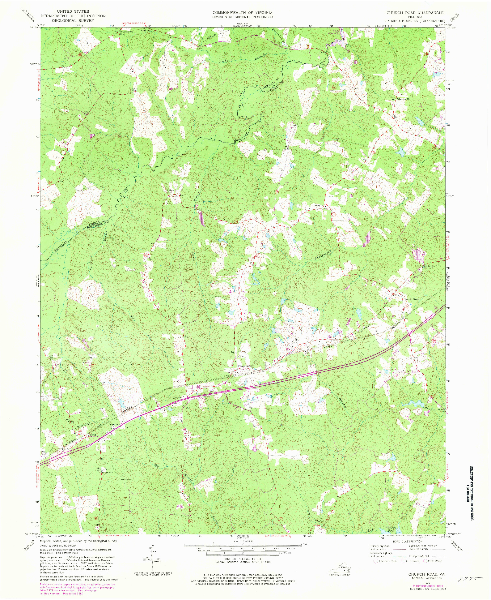 USGS 1:24000-SCALE QUADRANGLE FOR CHURCH ROAD, VA 1963