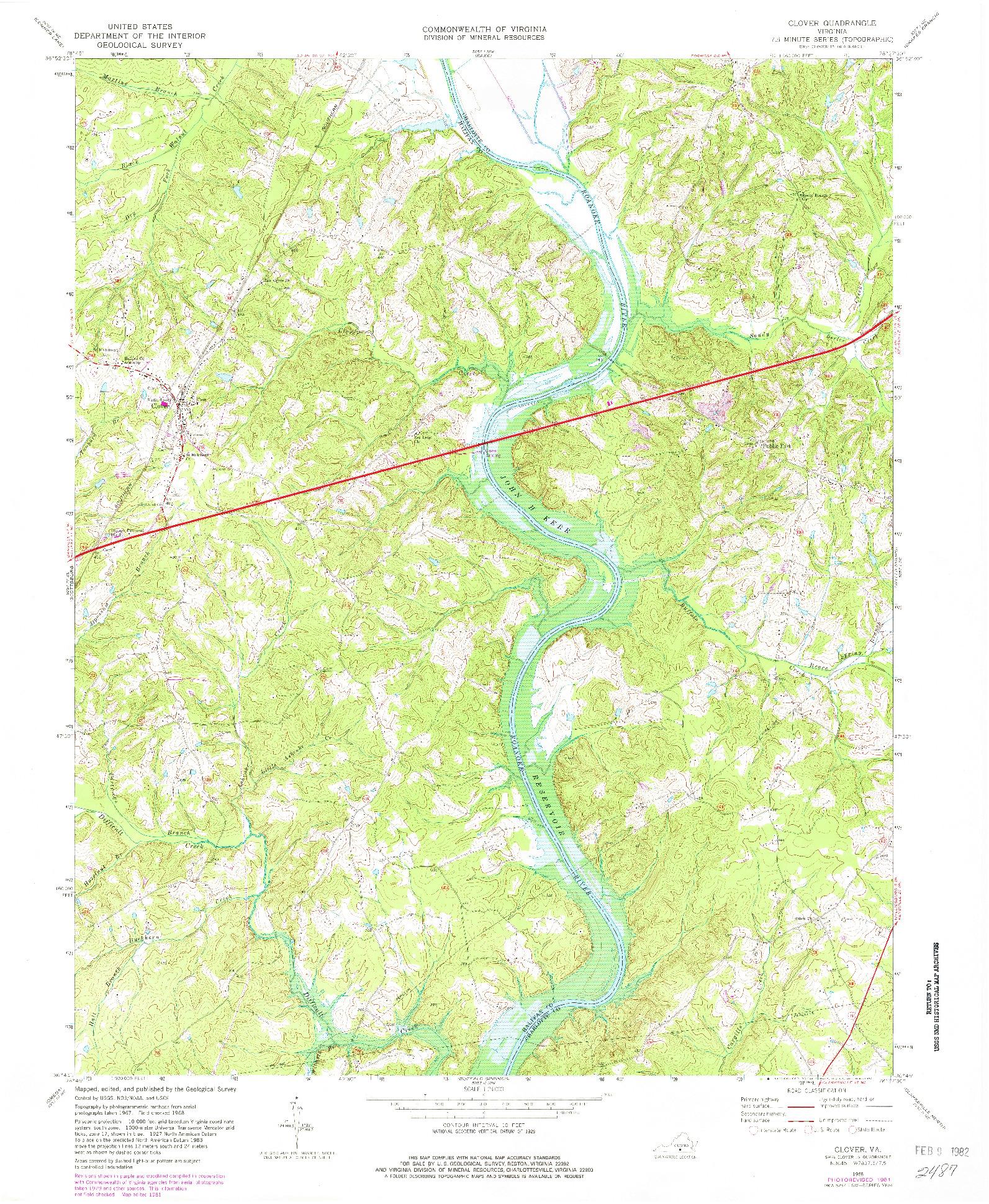 USGS 1:24000-SCALE QUADRANGLE FOR CLOVER, VA 1968