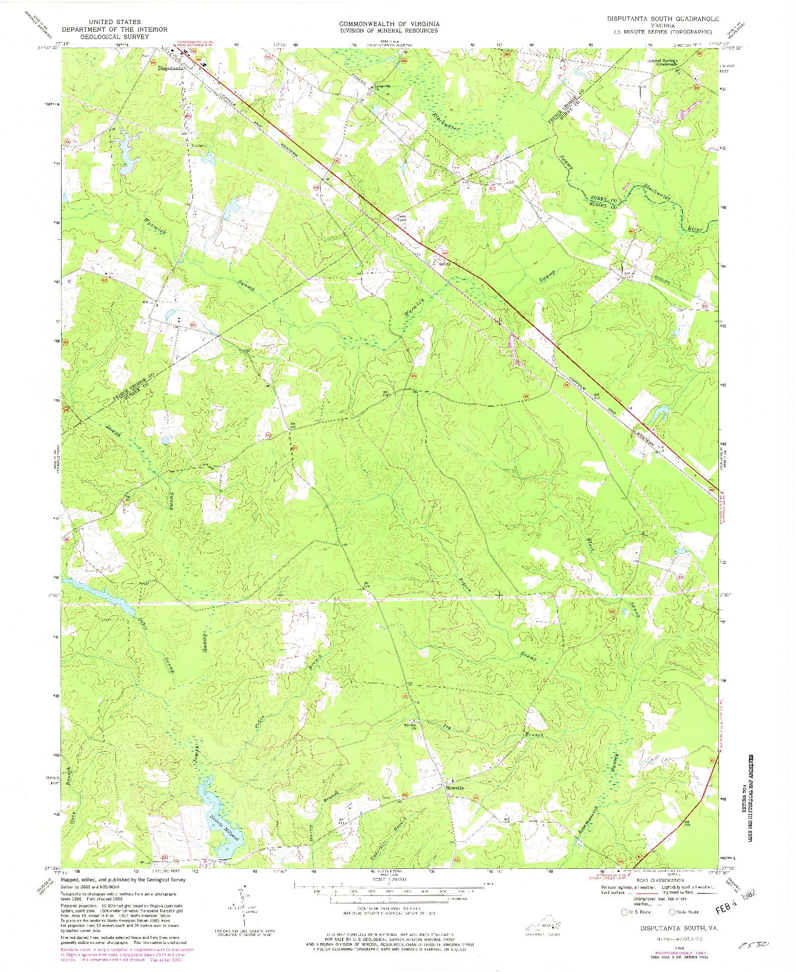 USGS 1:24000-SCALE QUADRANGLE FOR DISPUTANTA SOUTH, VA 1968