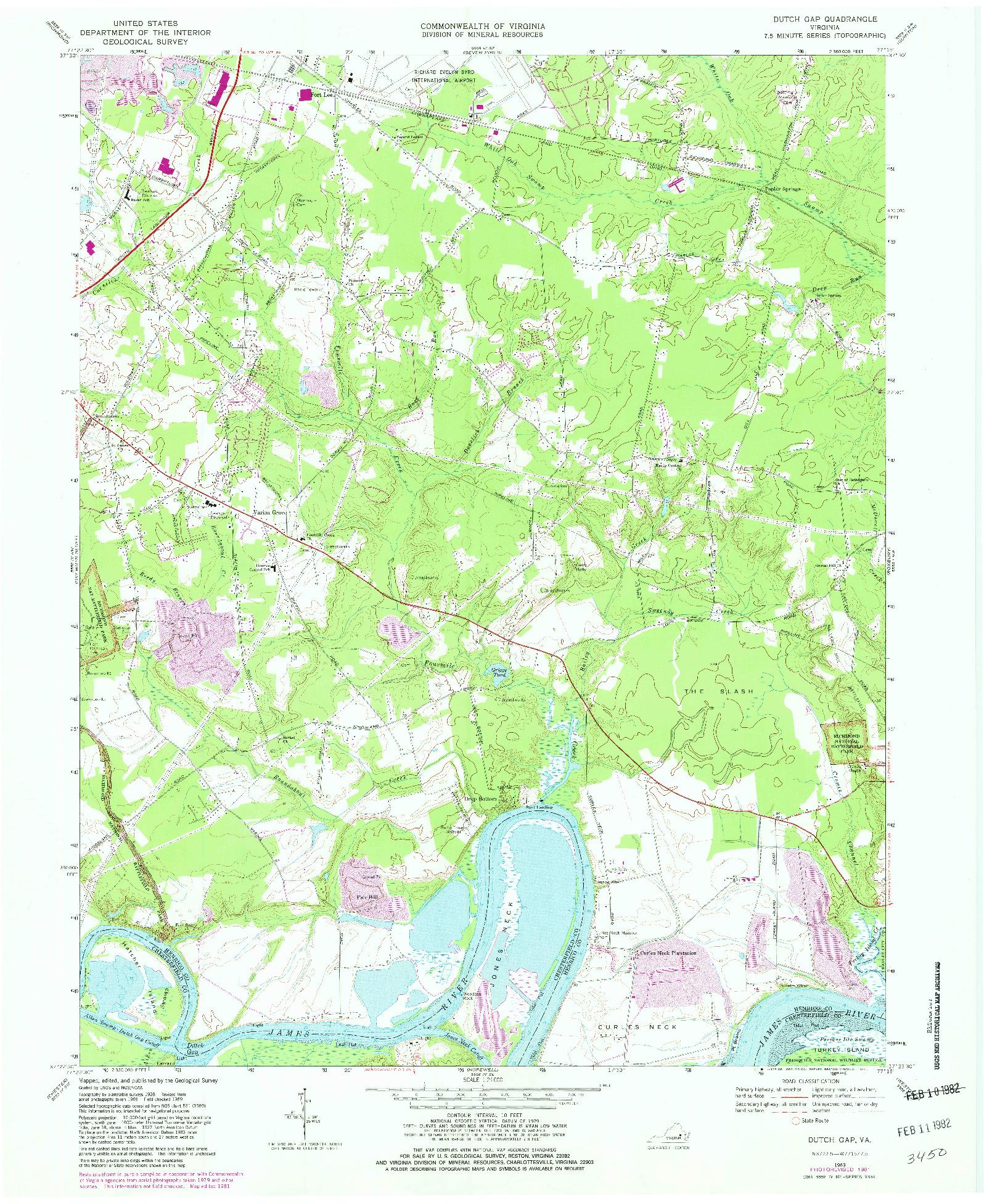 USGS 1:24000-SCALE QUADRANGLE FOR DUTCH GAP, VA 1969