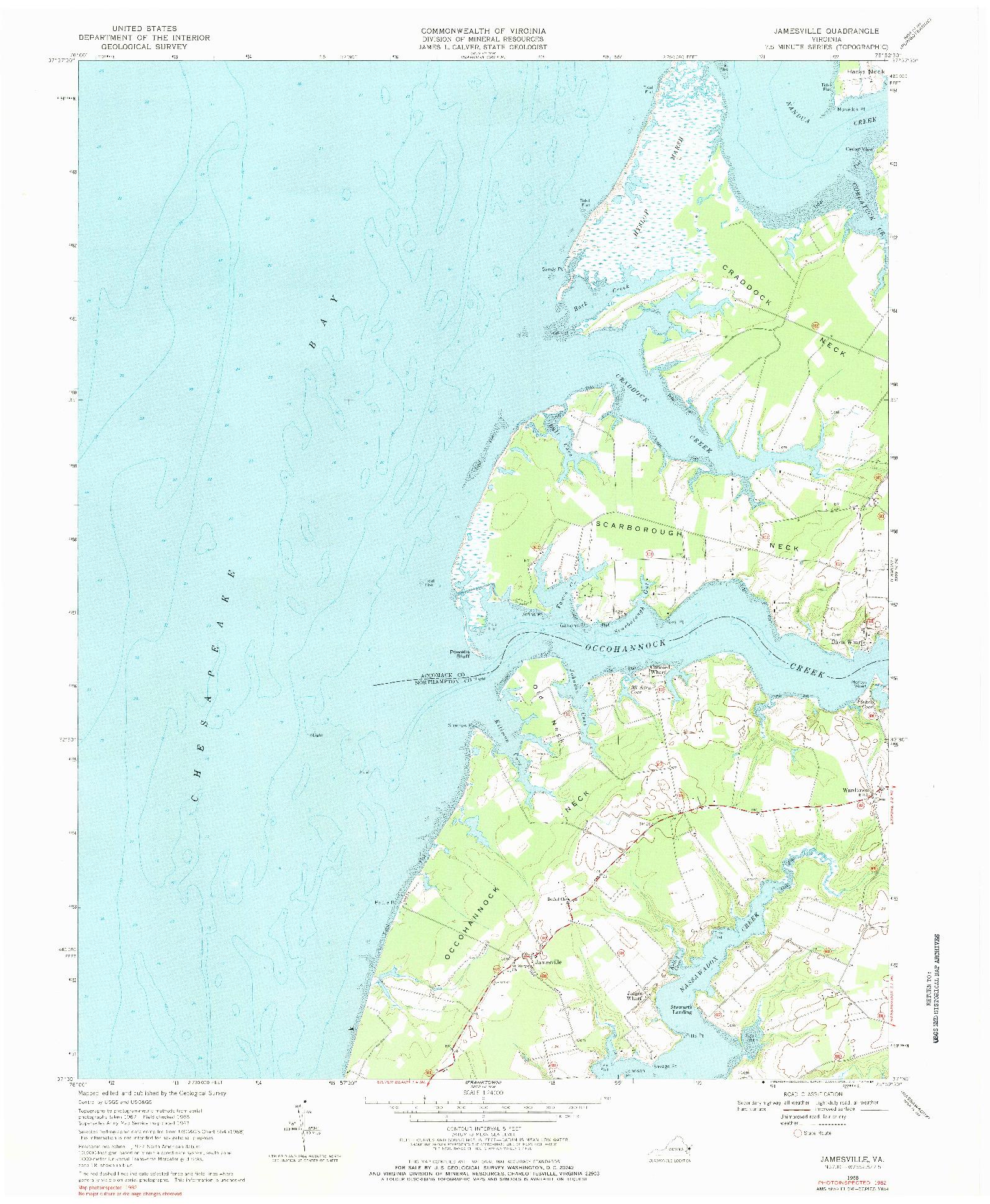 USGS 1:24000-SCALE QUADRANGLE FOR JAMESVILLE, VA 1968