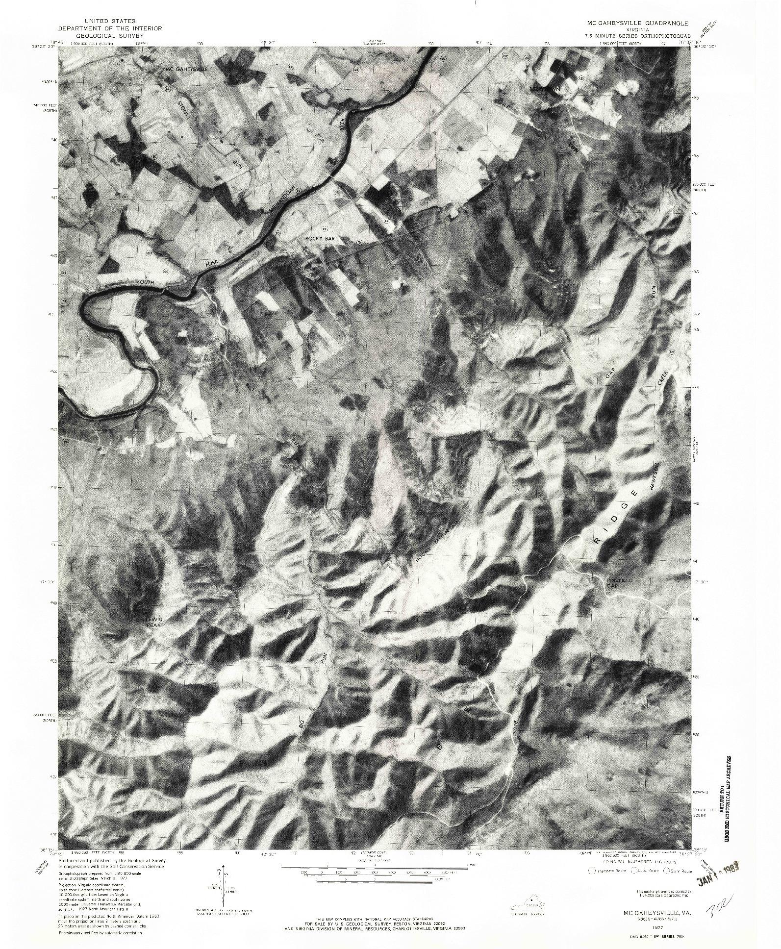 USGS 1:24000-SCALE QUADRANGLE FOR MC GAHEYSVILLE, VA 1977