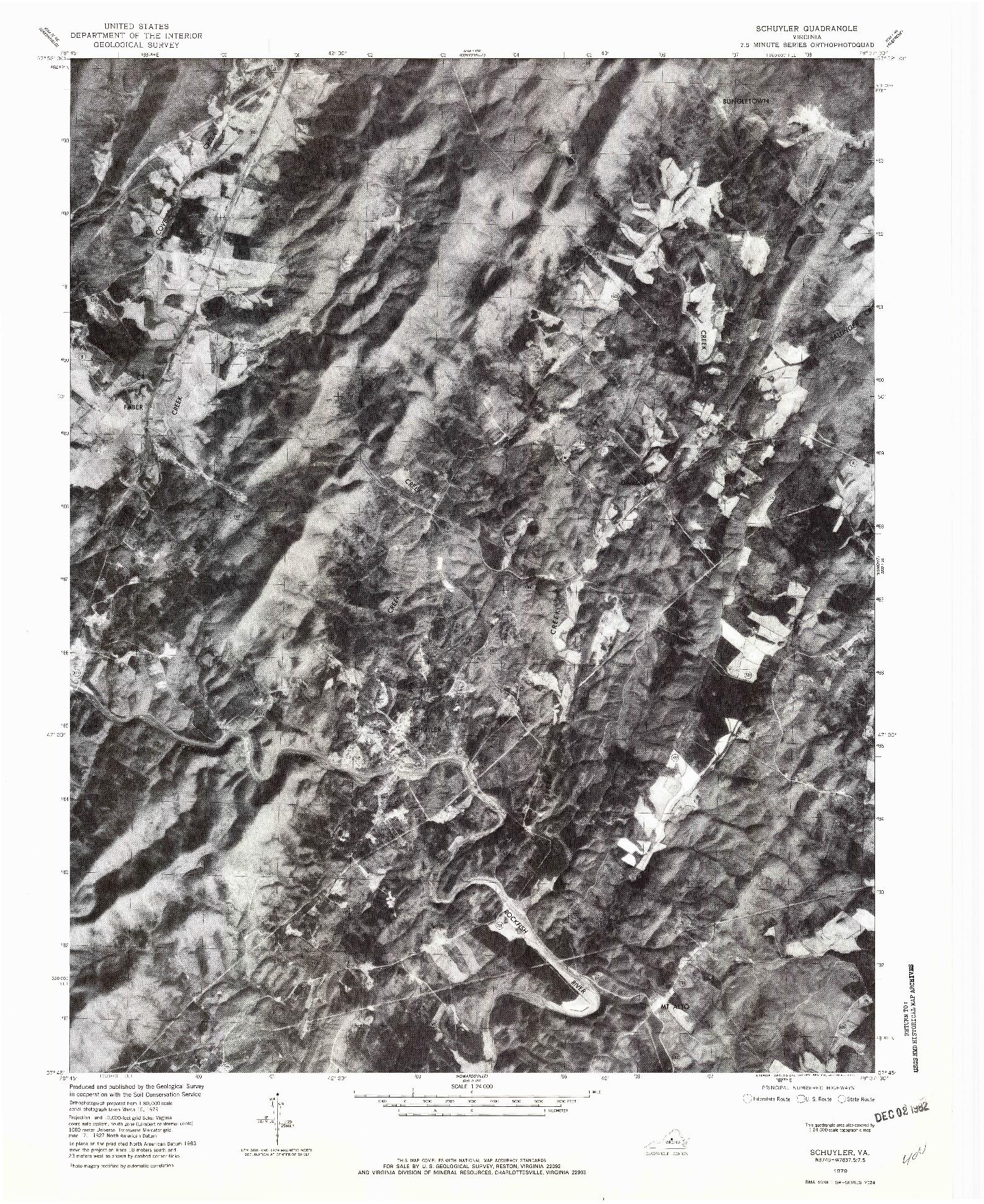 USGS 1:24000-SCALE QUADRANGLE FOR SCHUYLER, VA 1979