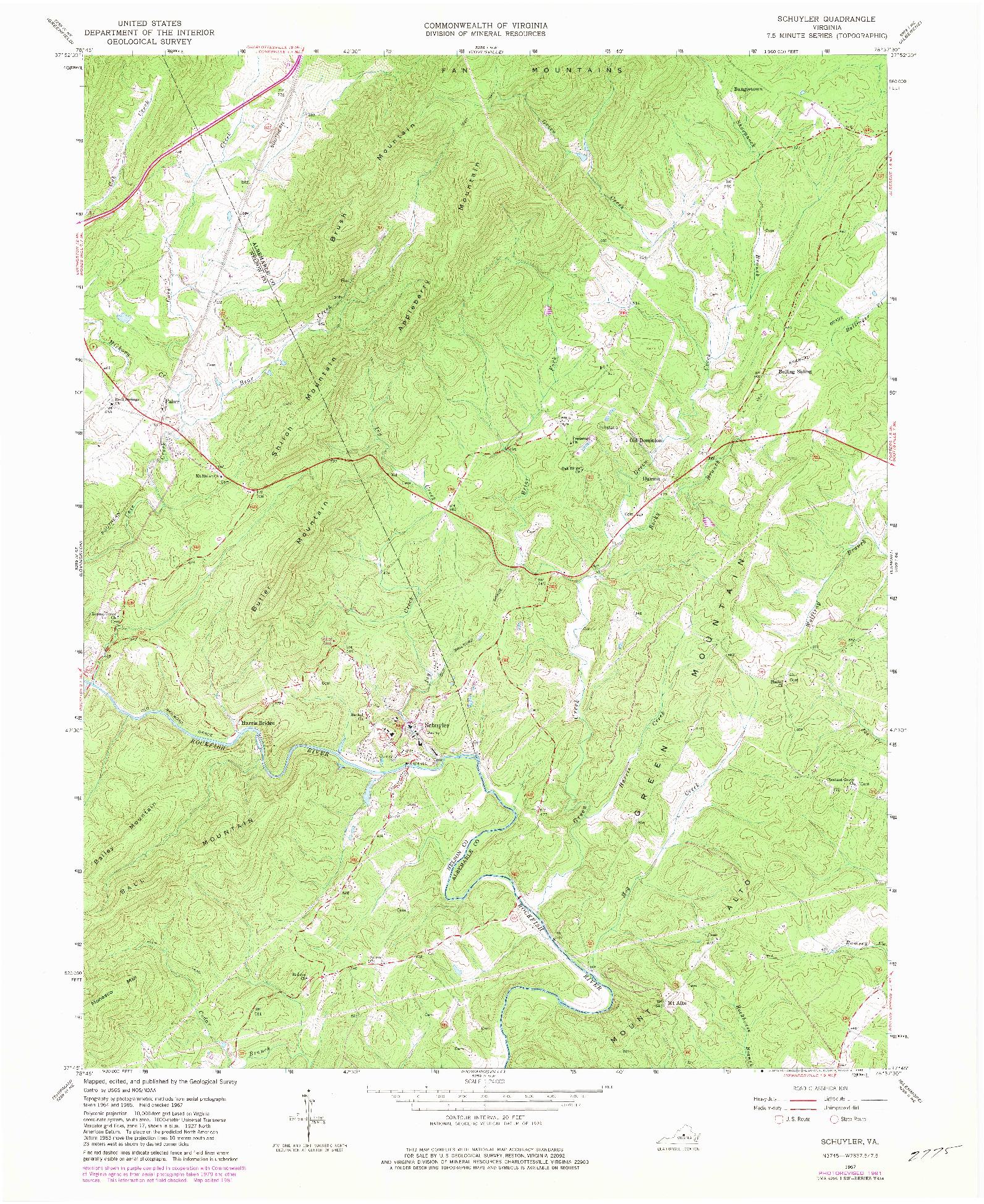 USGS 1:24000-SCALE QUADRANGLE FOR SCHUYLER, VA 1967