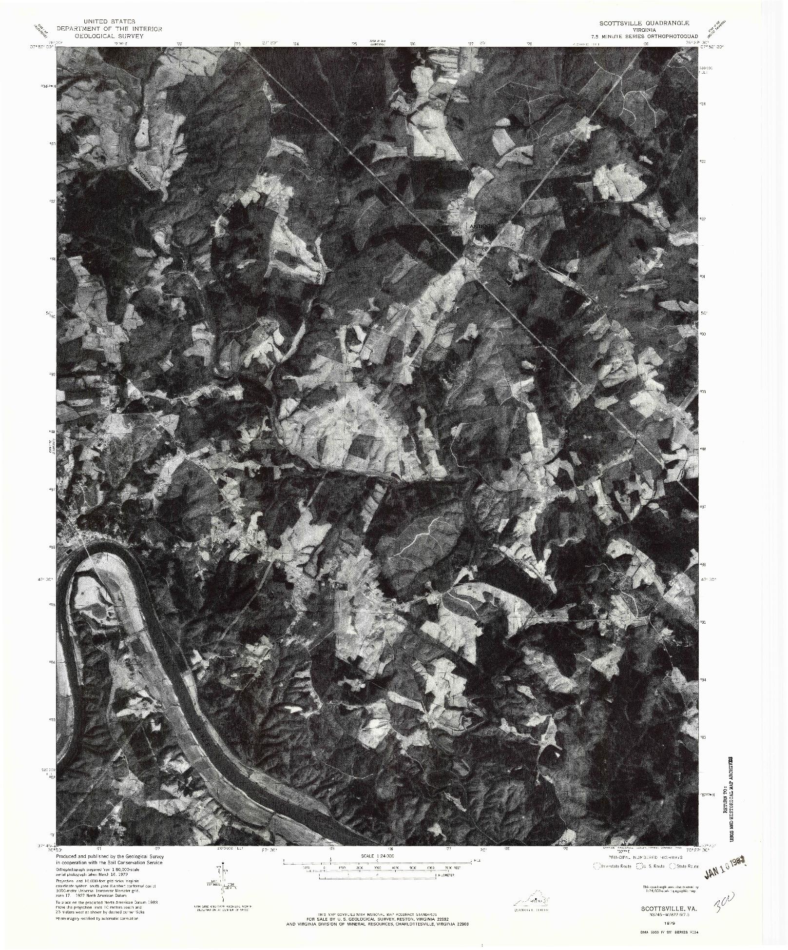 USGS 1:24000-SCALE QUADRANGLE FOR SCOTTSBURG, VA 1979