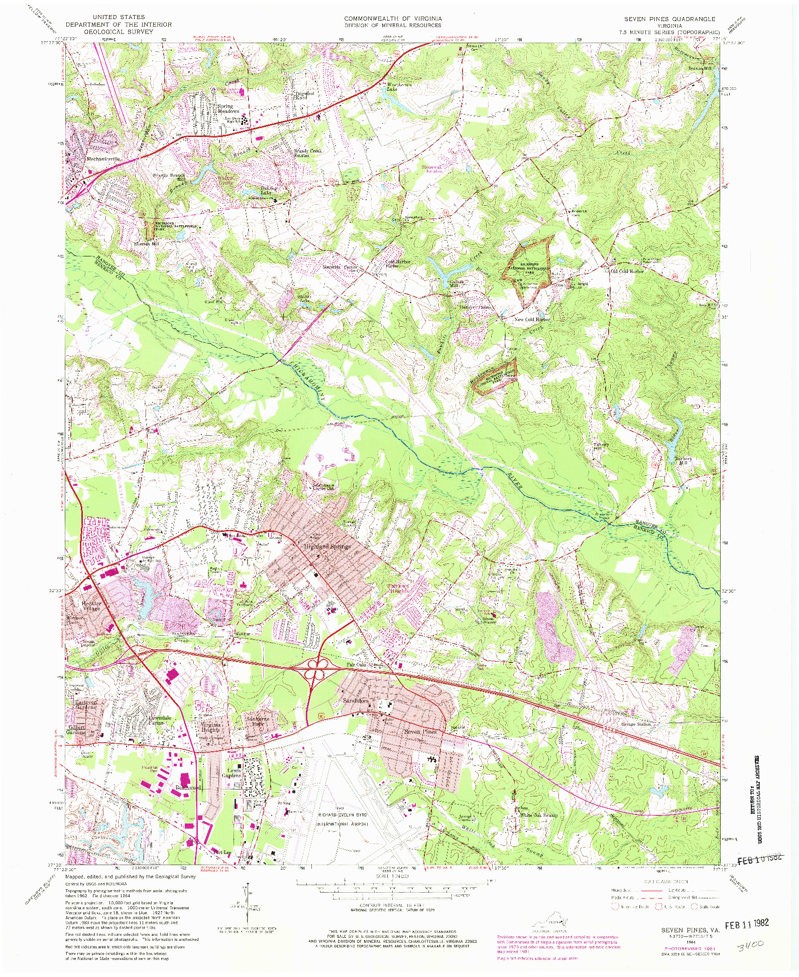 USGS 1:24000-SCALE QUADRANGLE FOR SEVEN PINES, VA 1964