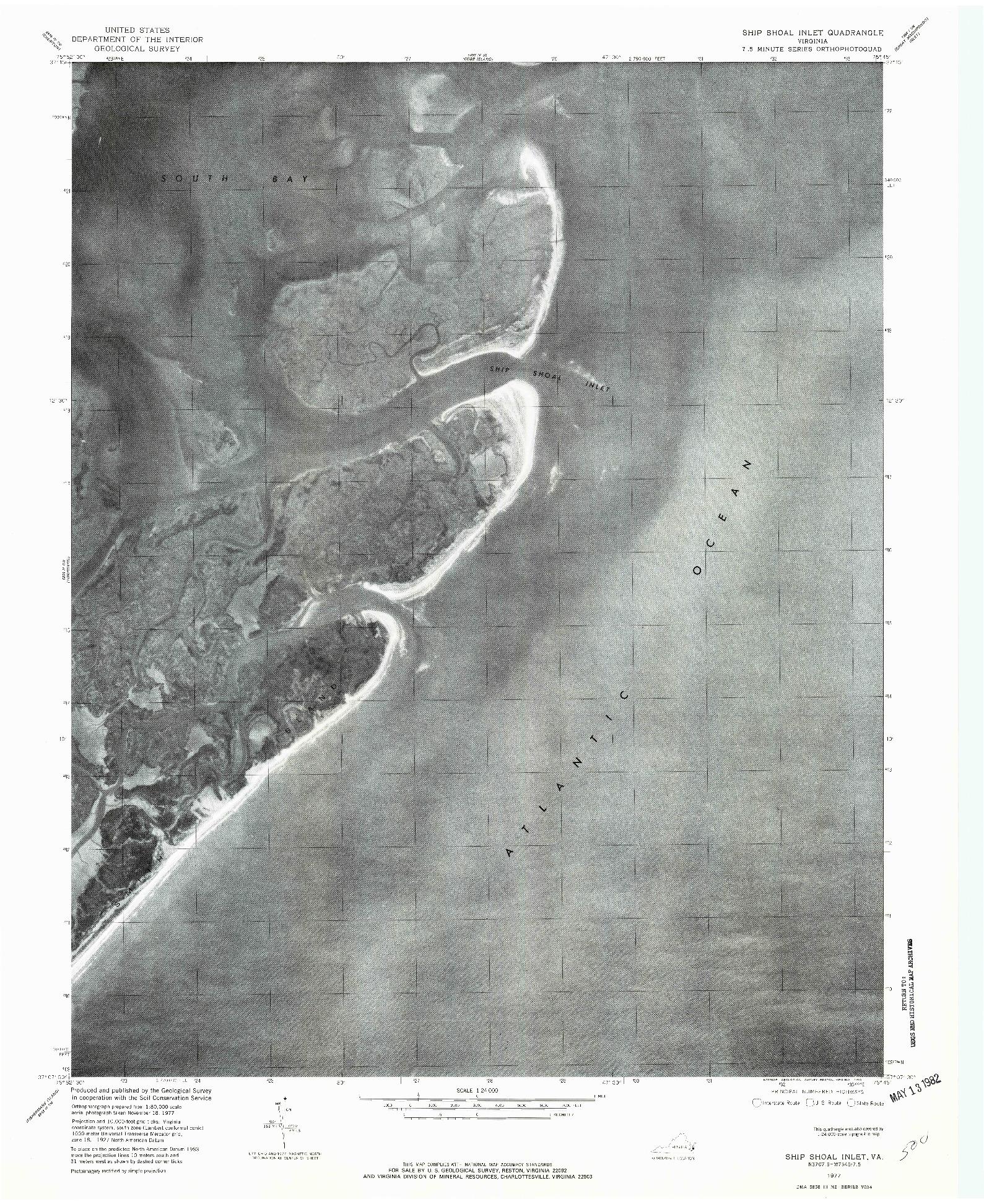 USGS 1:24000-SCALE QUADRANGLE FOR SHIP SHOAL INLET, VA 1977
