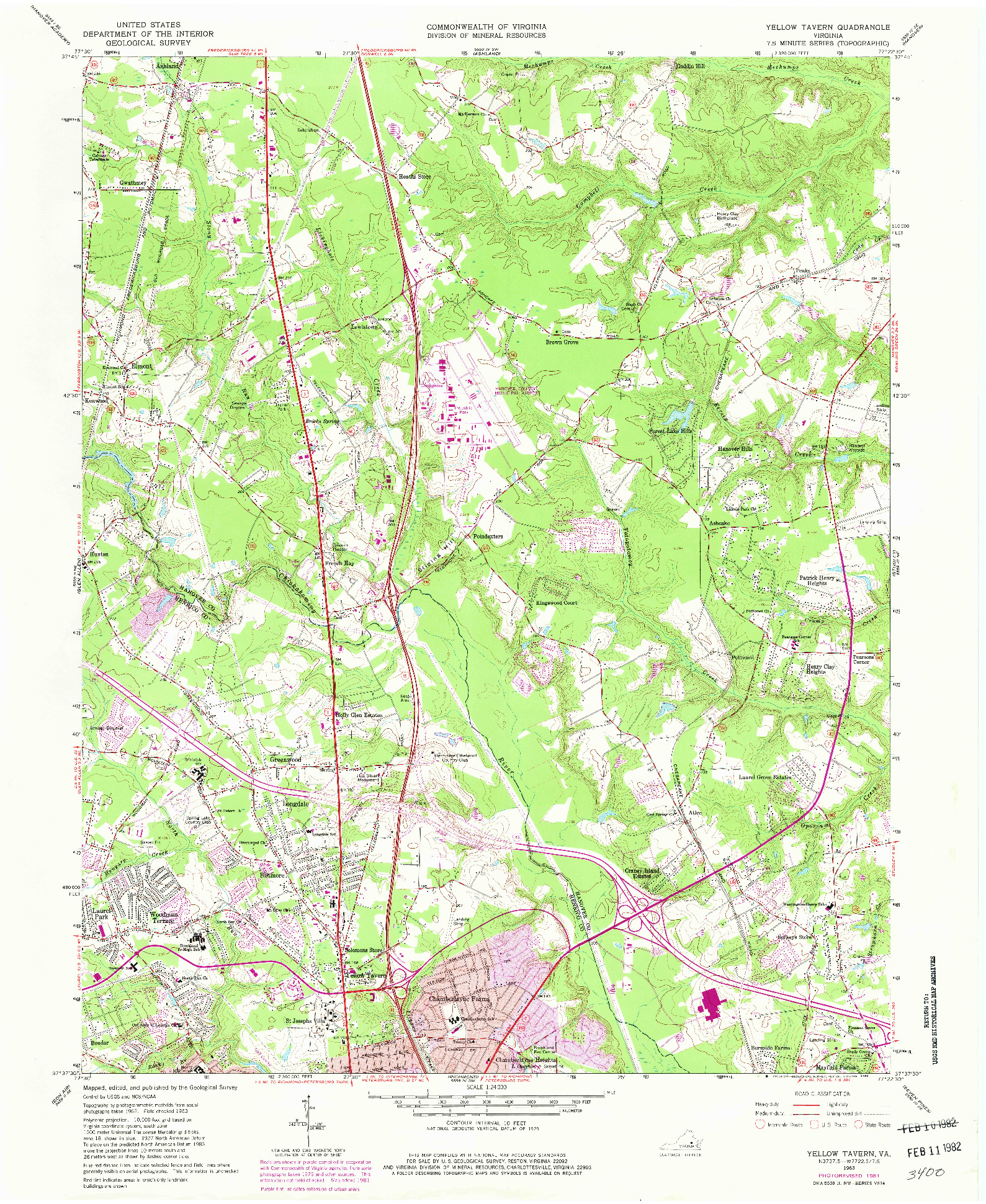 USGS 1:24000-SCALE QUADRANGLE FOR YELLOW TAVERN, VA 1963