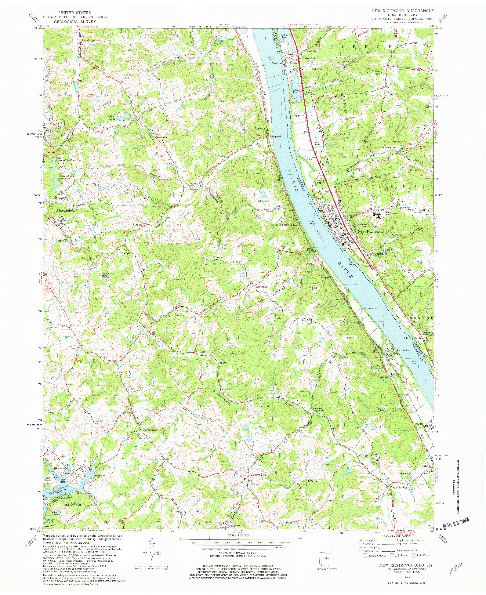 USGS 1:24000-SCALE QUADRANGLE FOR NEW RICHMOND, OH 1981