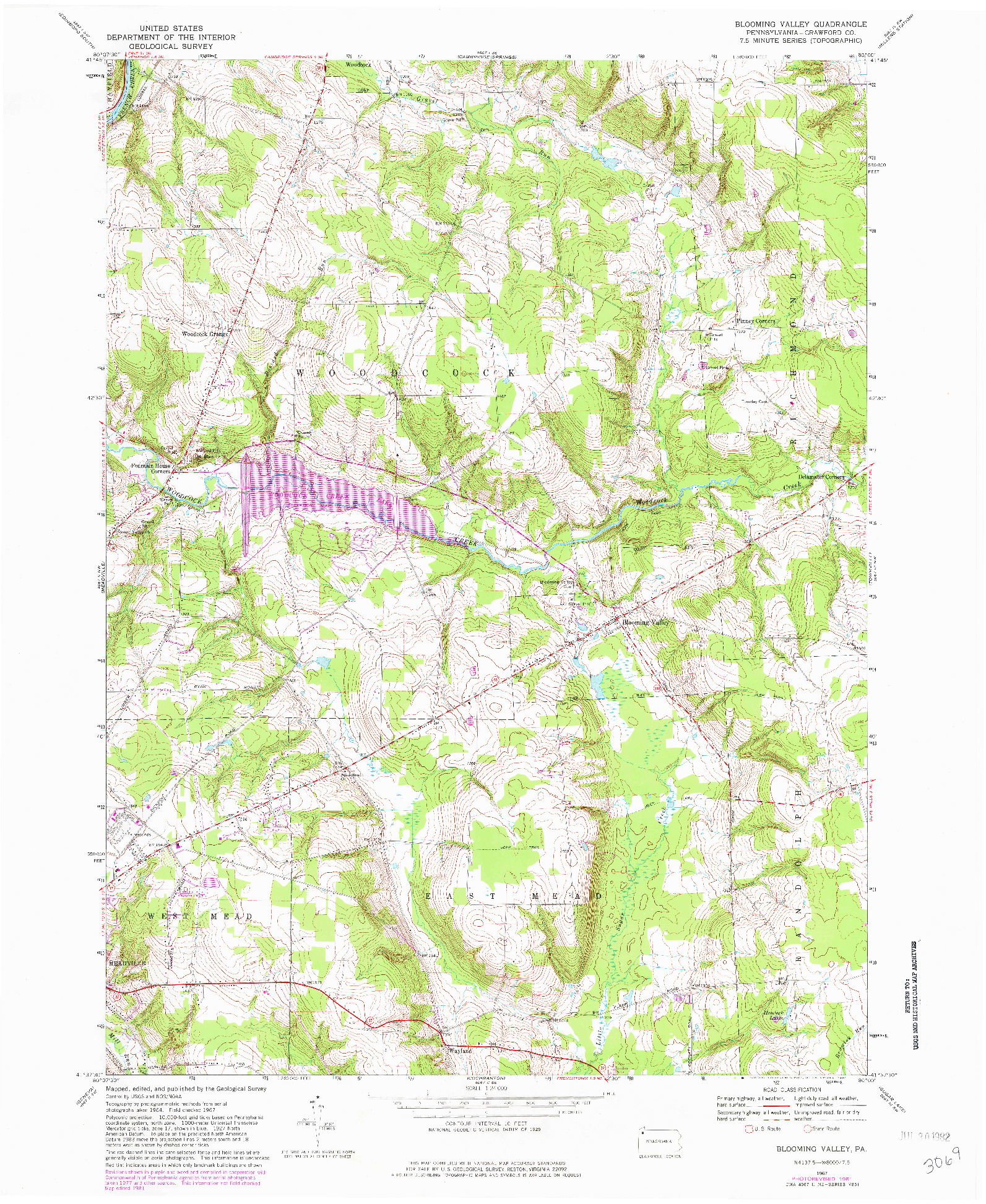USGS 1:24000-SCALE QUADRANGLE FOR BLOOMING VALLEY, PA 1967